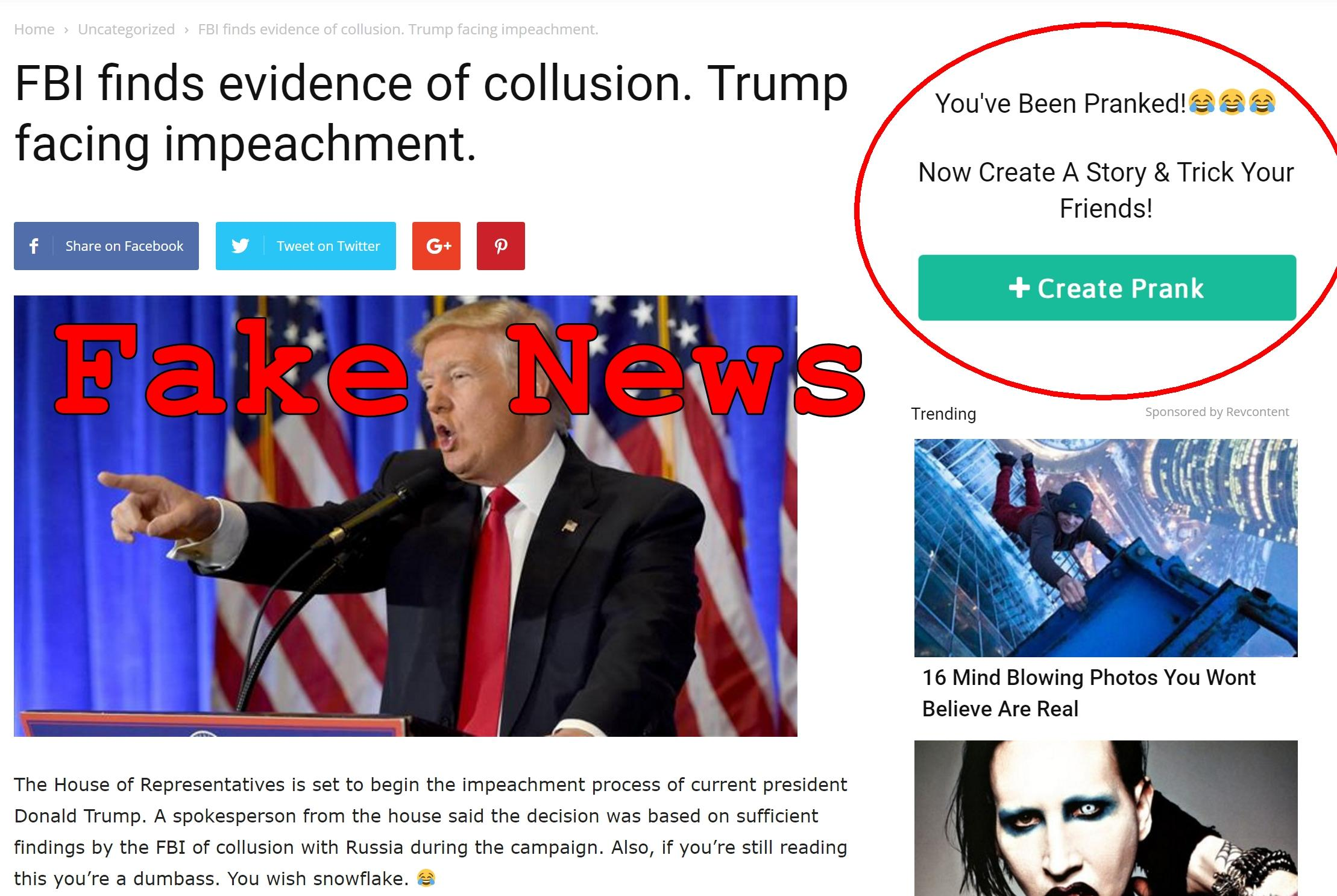 Fake News: FBI Did NOT Find Evidence of Collusion. Trump NOT Facing Impeachment.