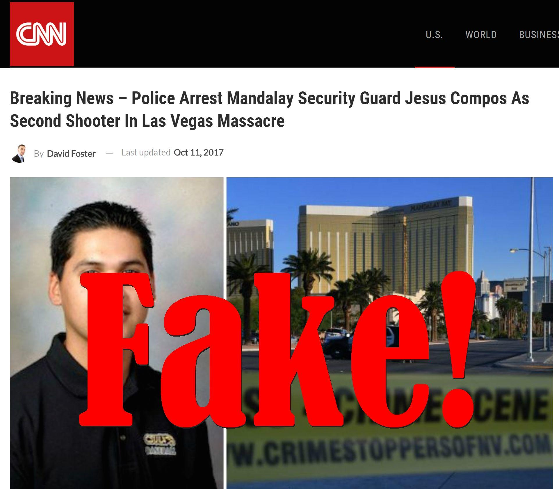 Fake News: Police Did NOT Arrest Mandalay Security Guard Jesus Compos As Second Shooter In Las Vegas Massacre