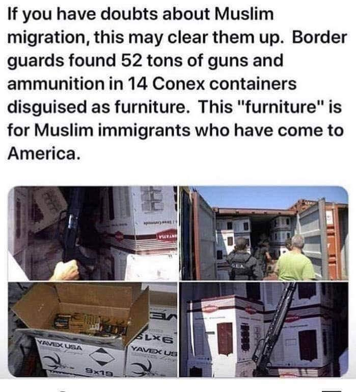 Fake News: Border Guards Did NOT Find 52 Tons of Guns and Ammunition in Conex Containers Underway to Muslim Immigrants in America