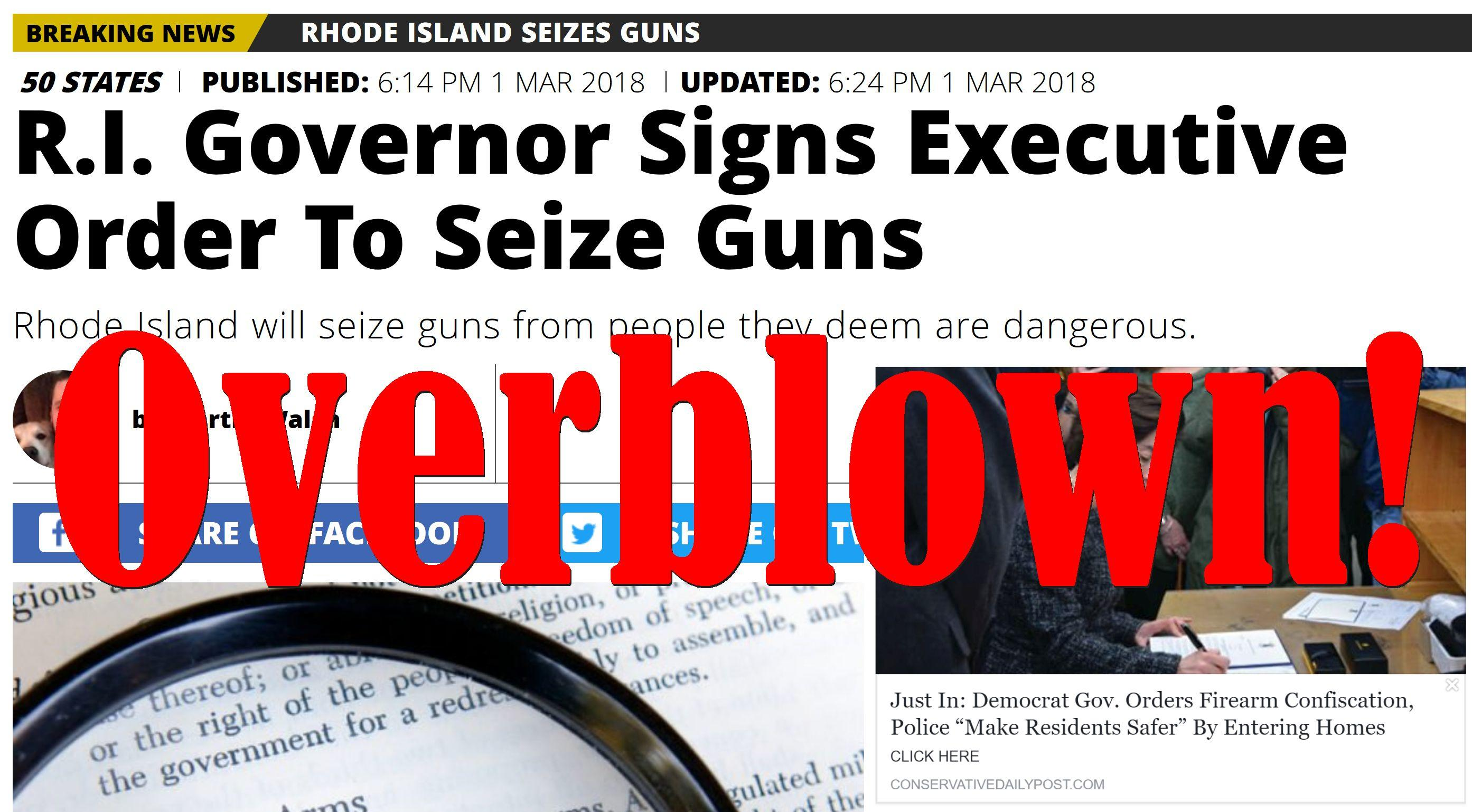 Fake News: Democrat Governor Did NOT Order Firearm Confiscation