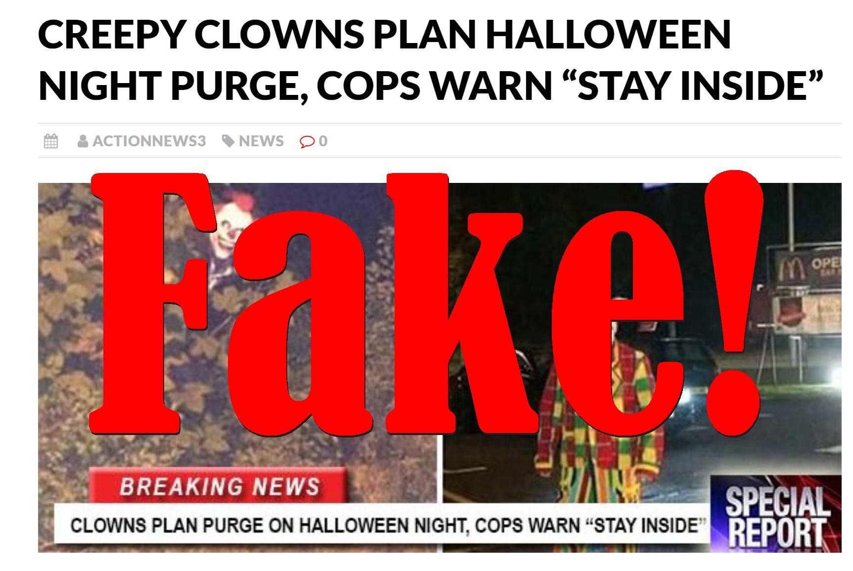 Fake News: Creepy Clowns NOT Planning Halloween Night Purge