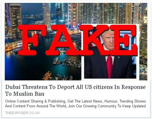 Fake News: Dubai  DID NOT Threaten To Deport All US Citizens In Response To Muslim Ban
