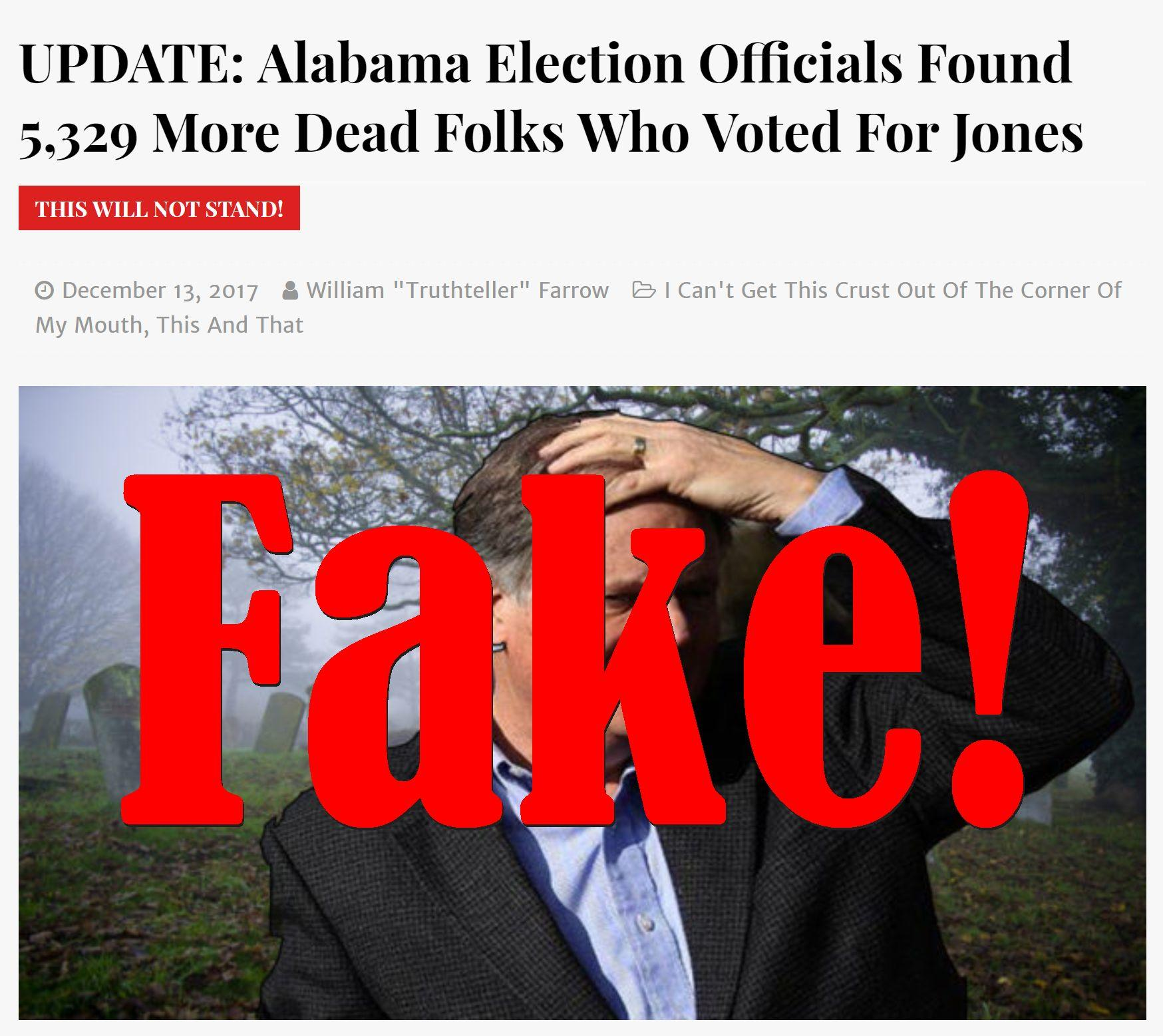Fake News: Alabama Election Officials Did NOT Find 5,329 More Dead Folks Who Voted For Jones