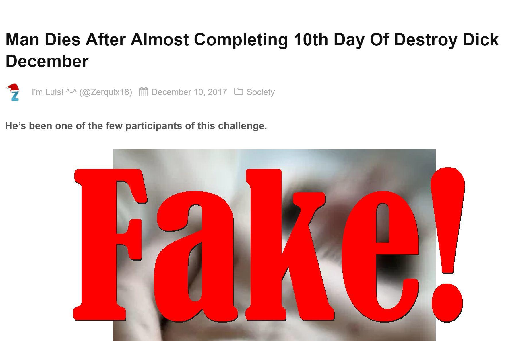 Fake News: Man Did NOT Die After Almost Completing 10th Day Of Destroy D*ck December