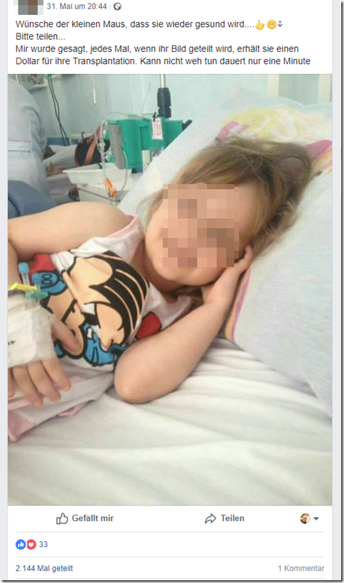 Fake News: Little Girl Does NOT Need Kidney, Does NOT Get $1 For Every Share