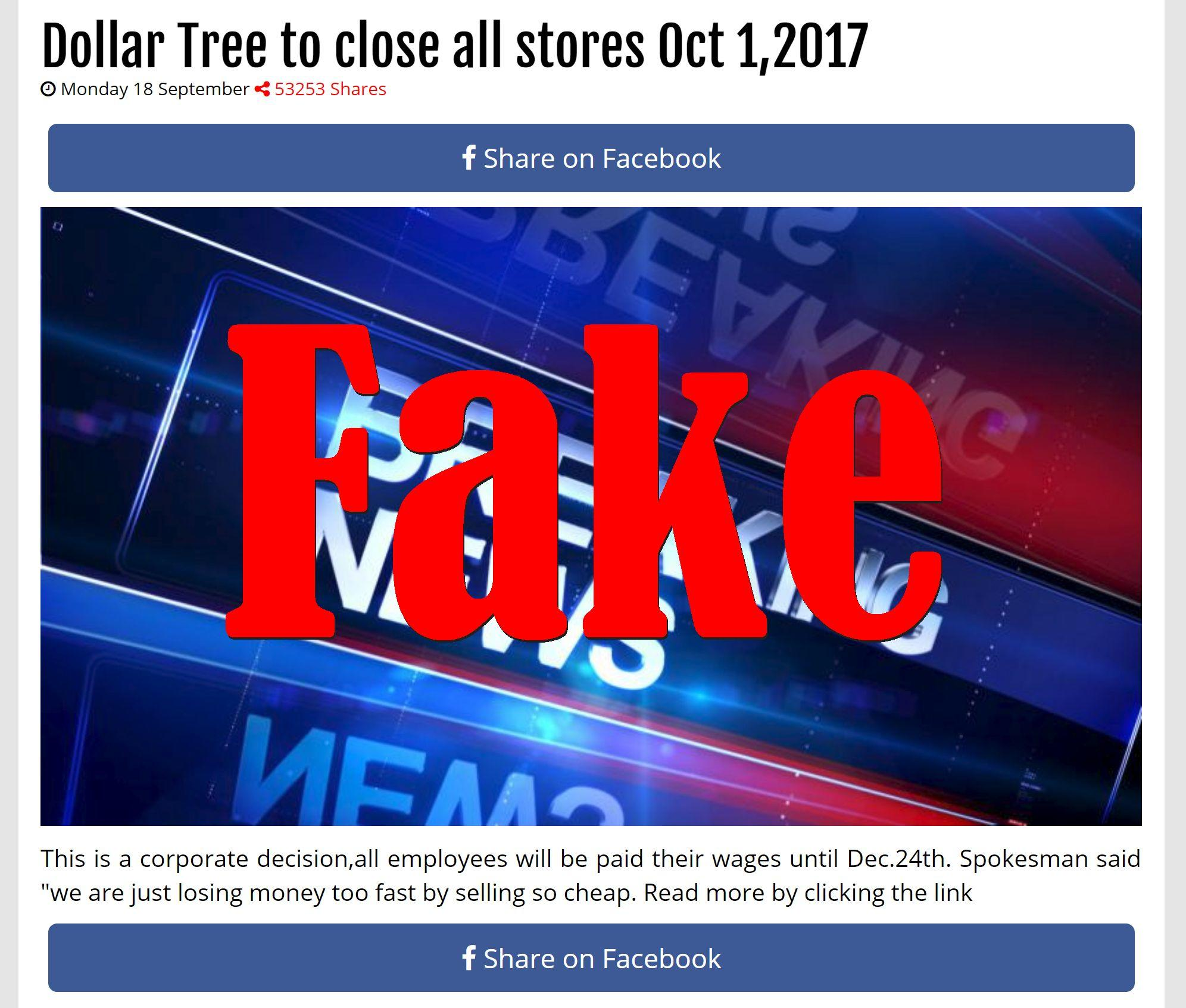 Fake News: Dollar Tree NOT To Close All Stores By October 1st 2017