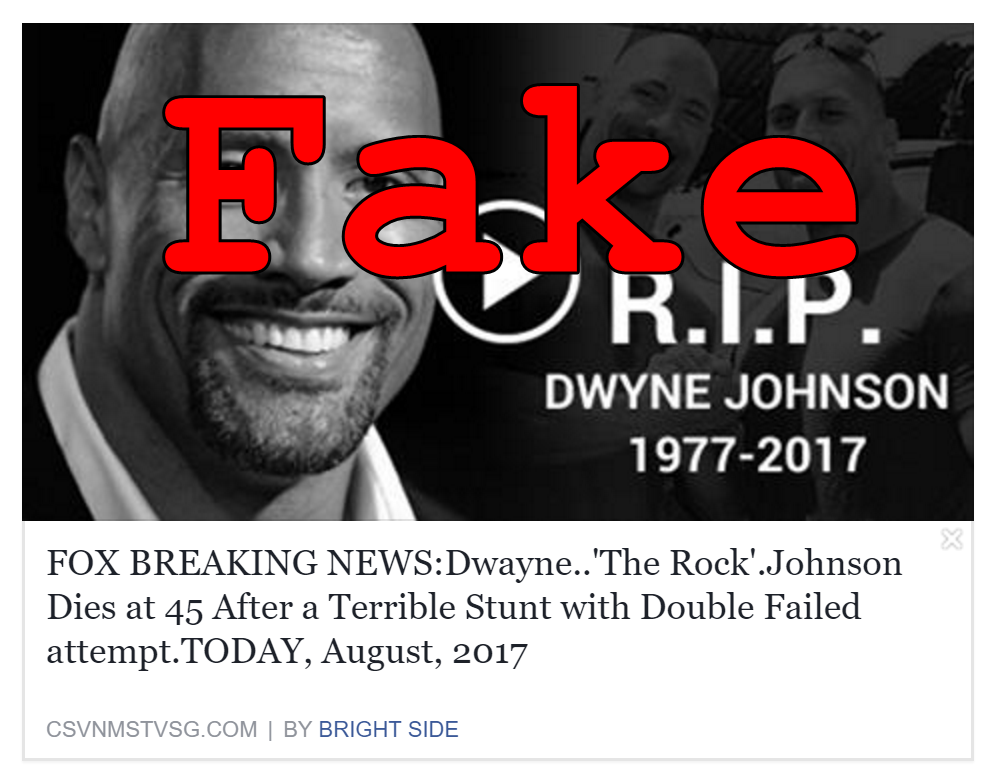 Fake News: Dwayne 'The Rock' Johnson DID NOT Die After Failed Stunt With Double