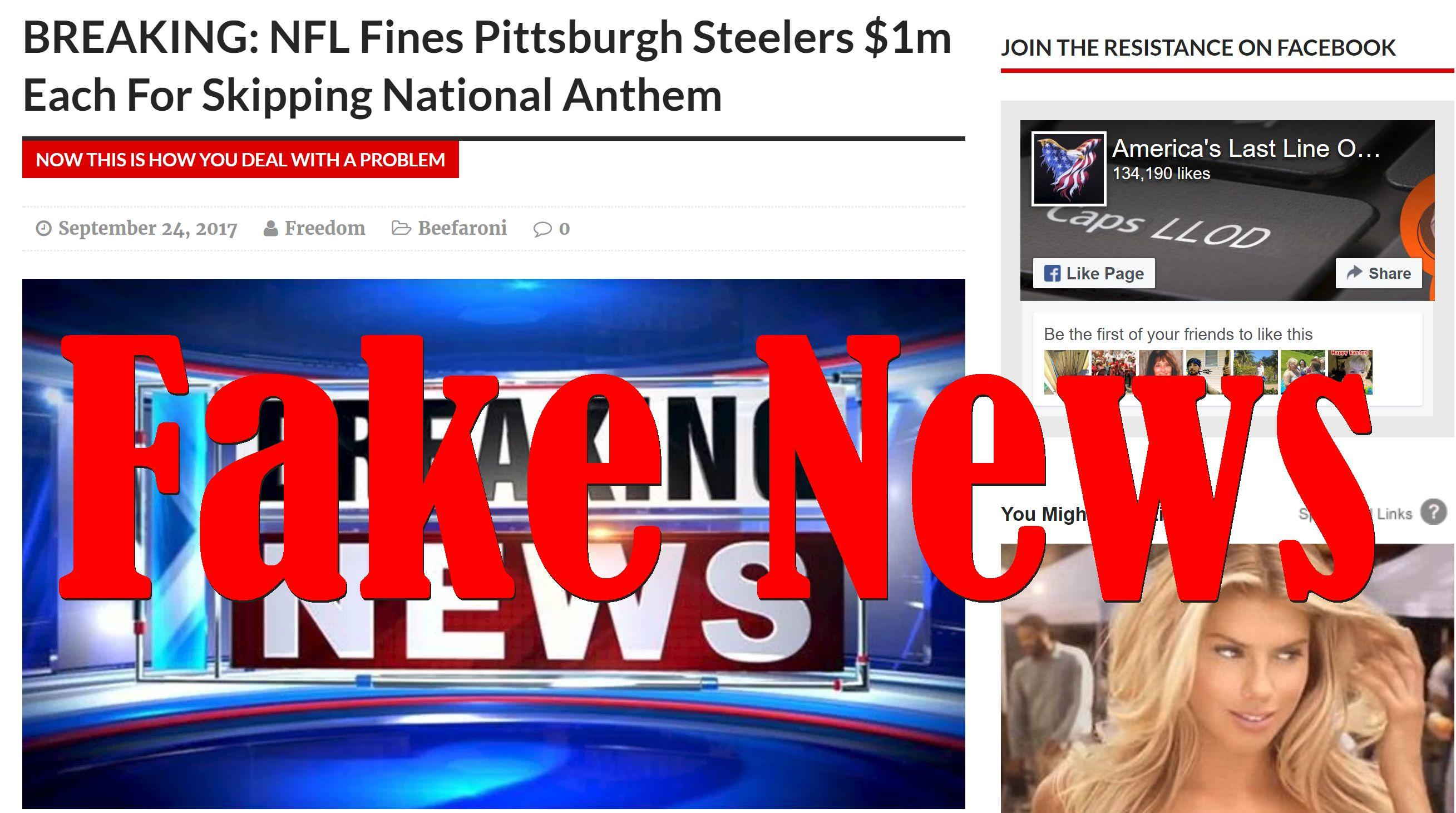 Fake News: NFL Did NOT Fine Pittsburgh Steelers $1m Each For Skipping National Anthem