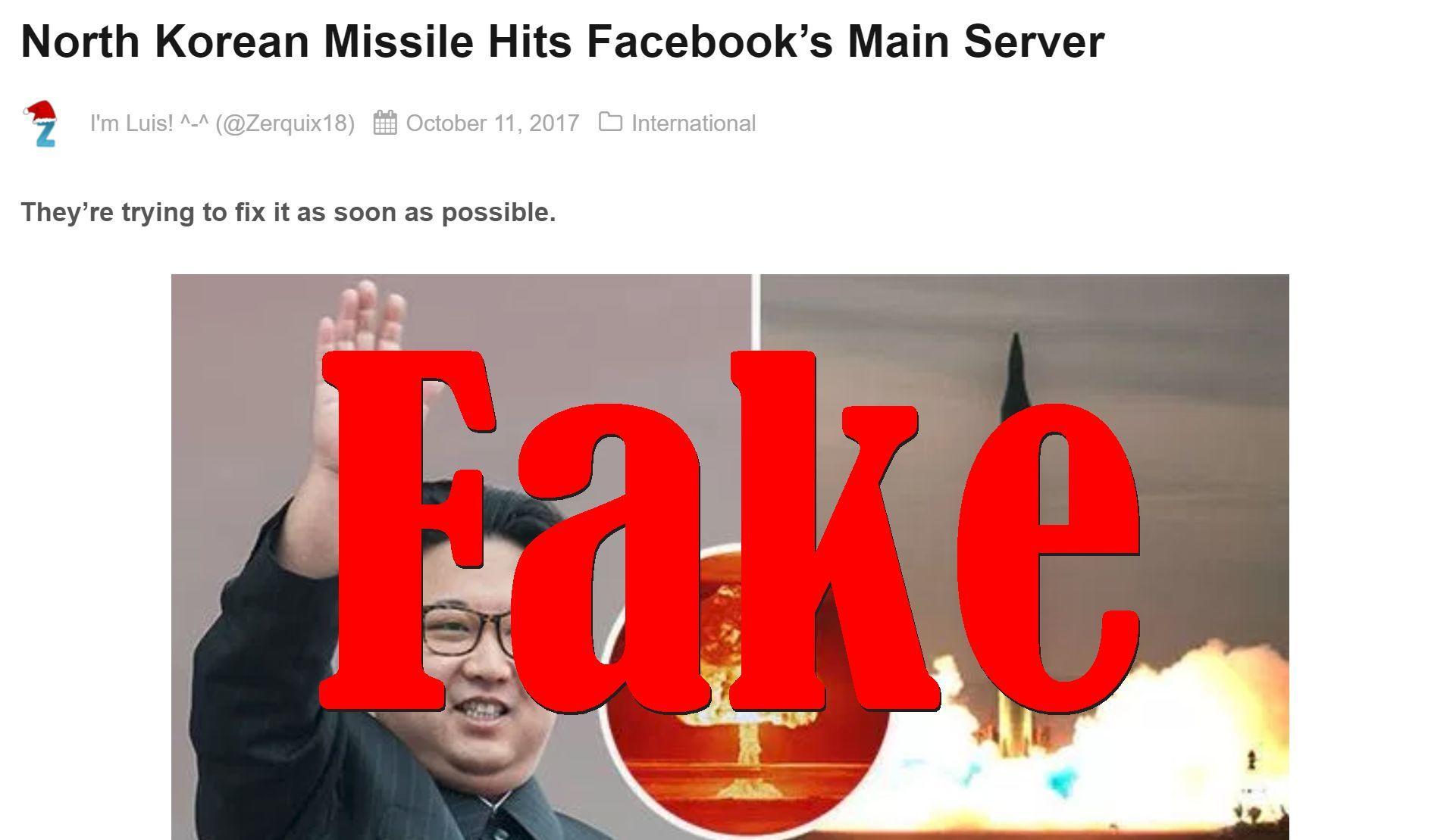 Fake News: North Korean Missile Did NOT Hit Facebook's Main Server