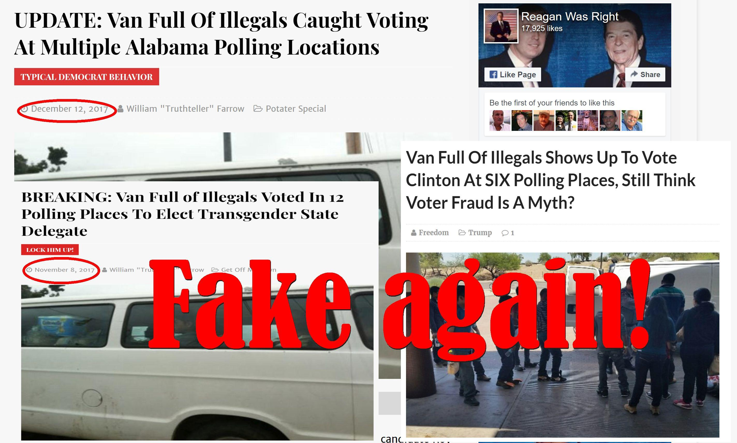 Fake News: Van Full Of Illegals NOT Caught Voting At Multiple Alabama Polling Locations