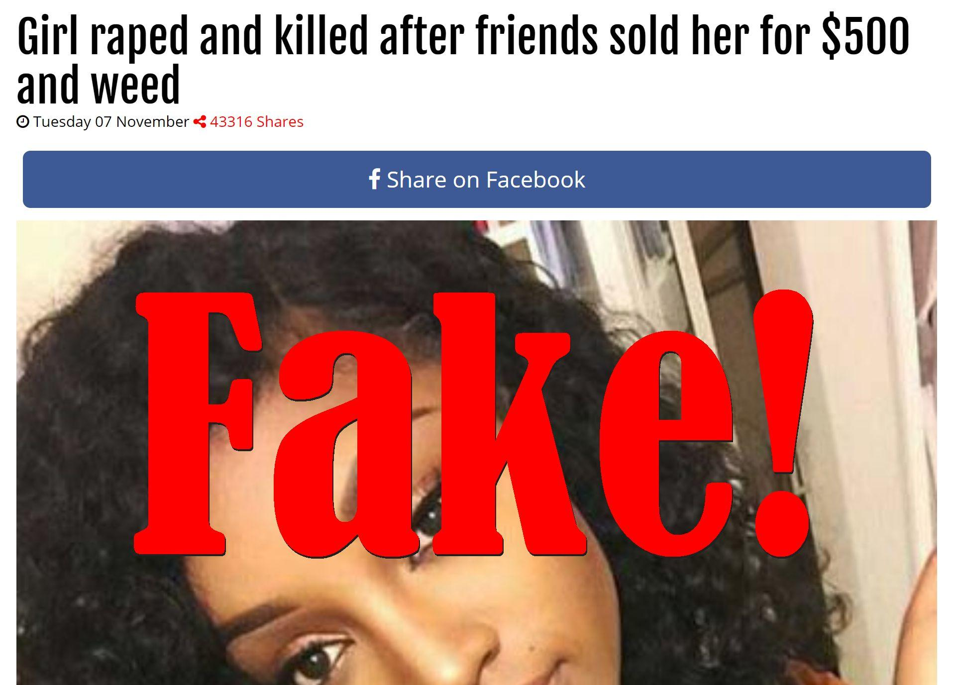 Fake News: Girl NOT Sold For $500 And Weed, NOT Raped And Killed
