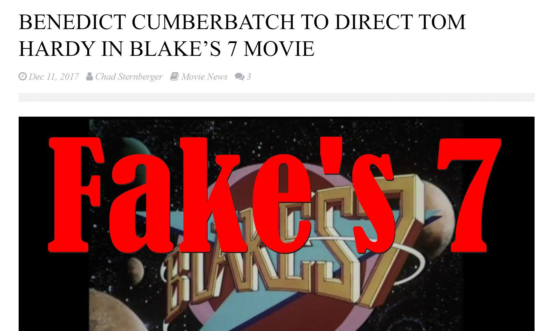 Fake News: Benedict Cumberbatch NOT To Direct Tom Hardy In Blake's 7 Movie
