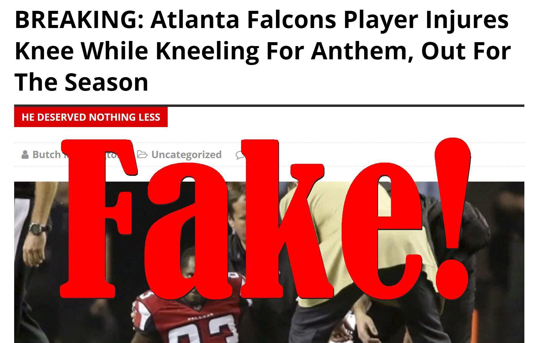 Fake News: Atlanta Falcons Player Did NOT Injure Knee While Kneeling For Anthem