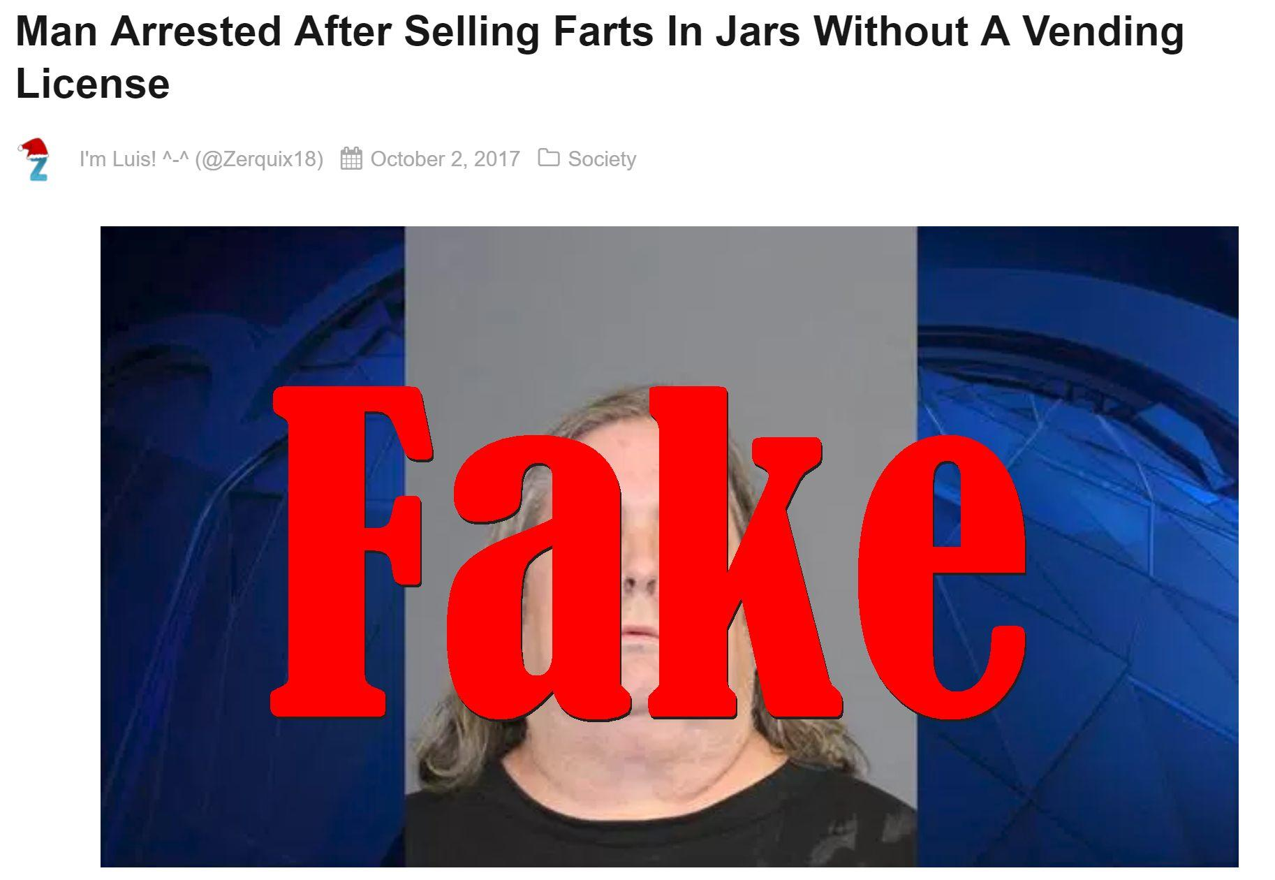 Fake News: Man NOT Arrested After Selling Farts In Jars Without A Vending License