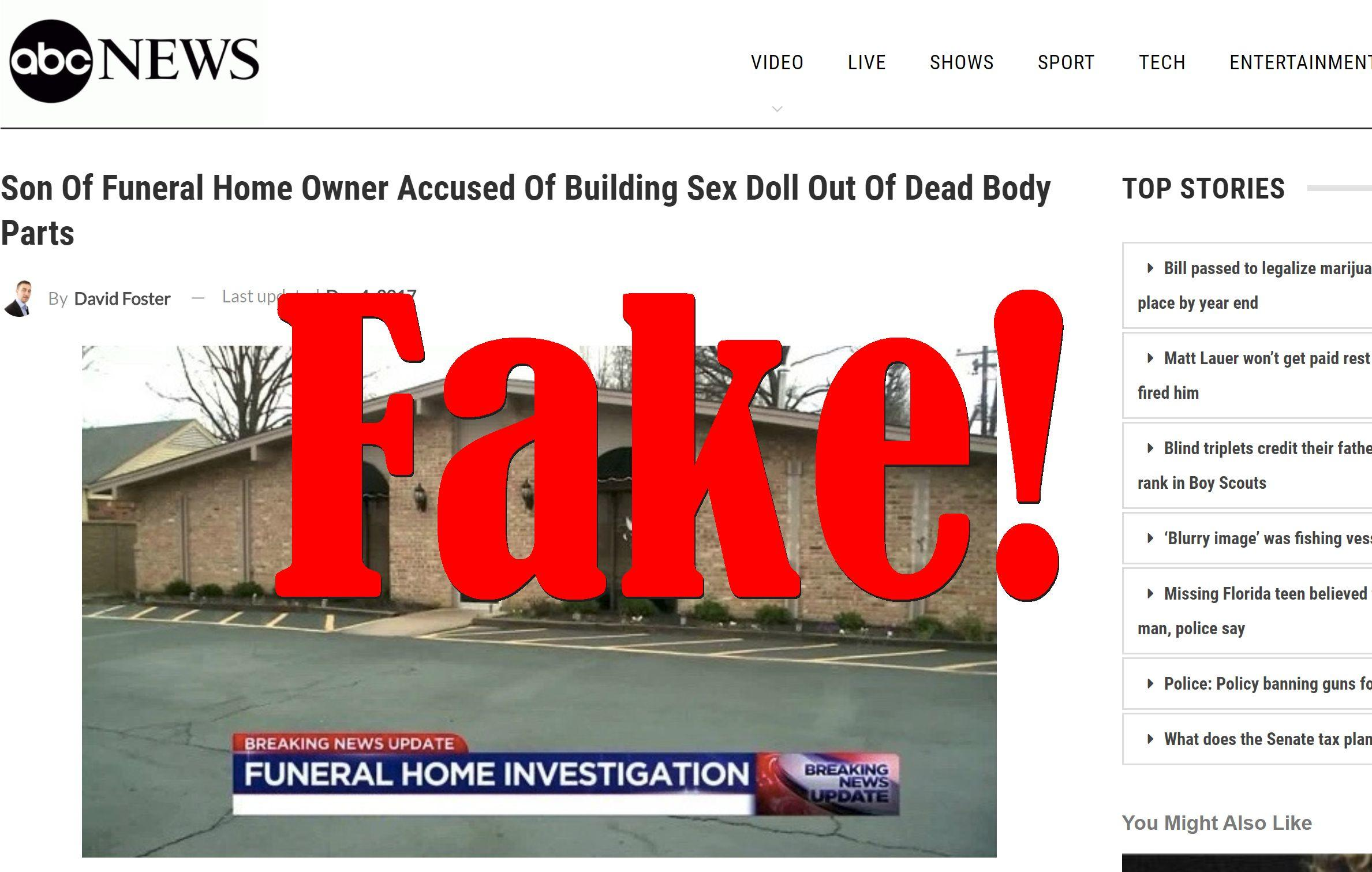 Fake News: Son Of Funeral Home Owner NOT Accused Of Building Sex Doll Out Of Dead Body Parts