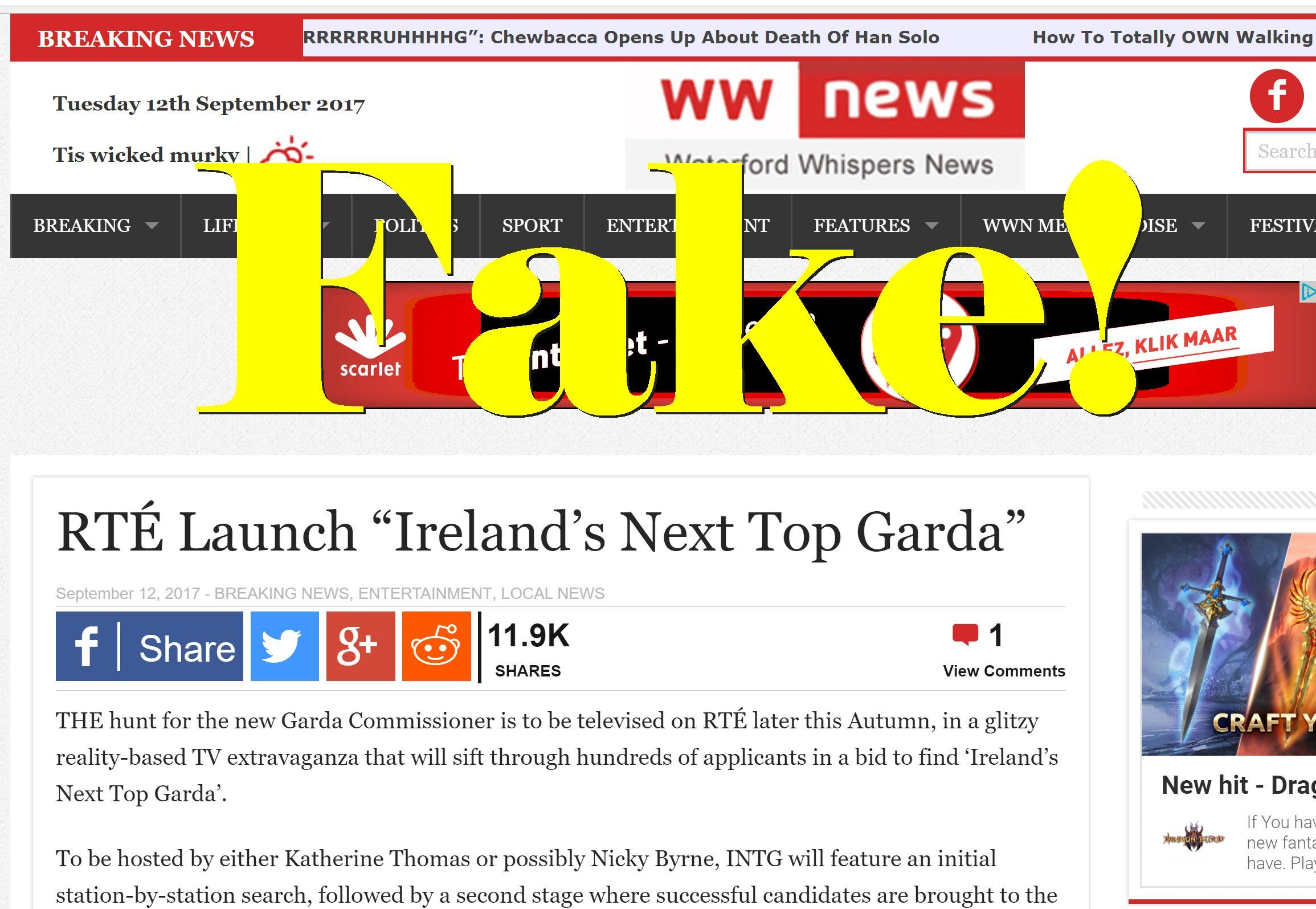 "Fake News: RTÉ Did NOT Launch ""Ireland's Next Top Garda"""