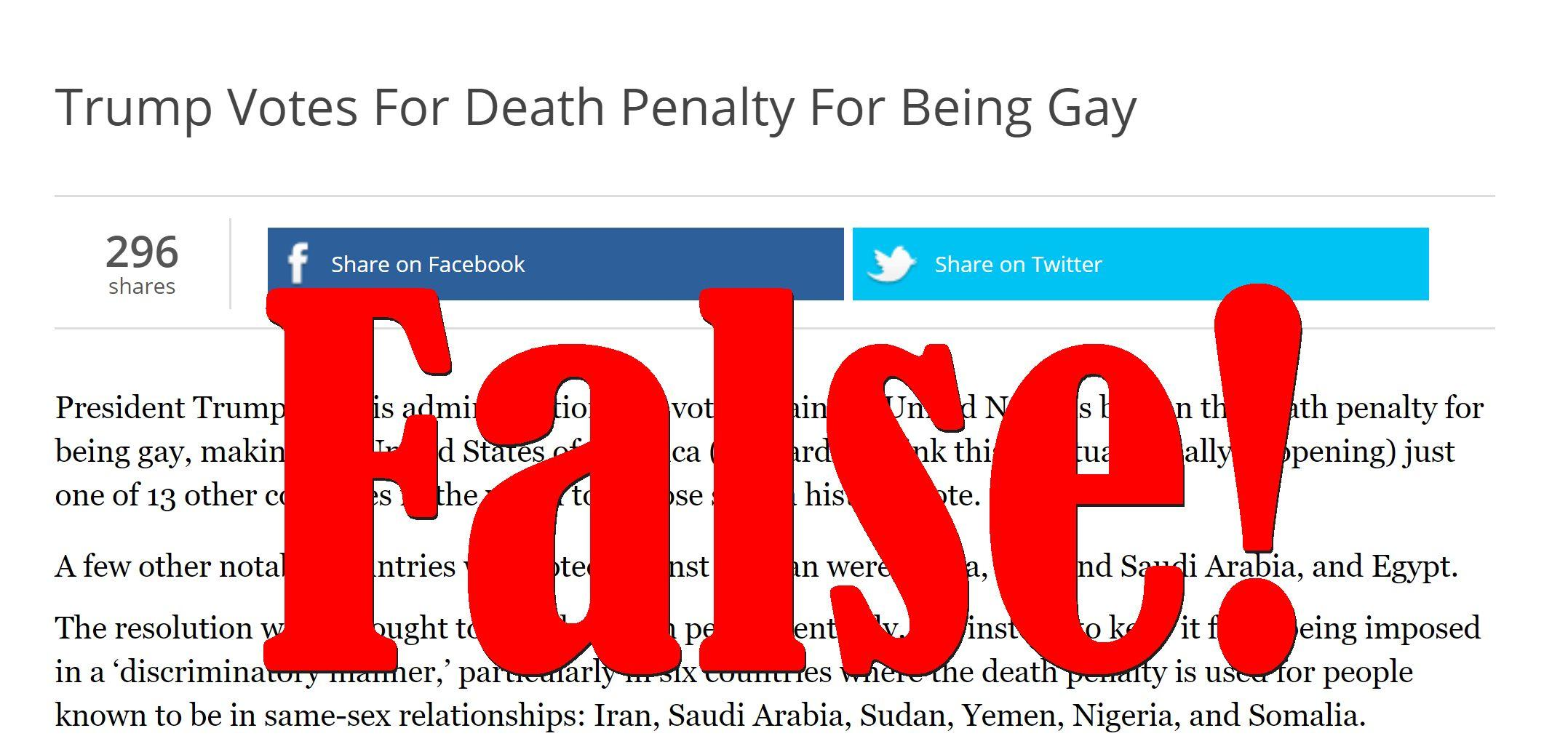 Fake News: Trump Did NOT Vote For Death Penalty For Being Gay