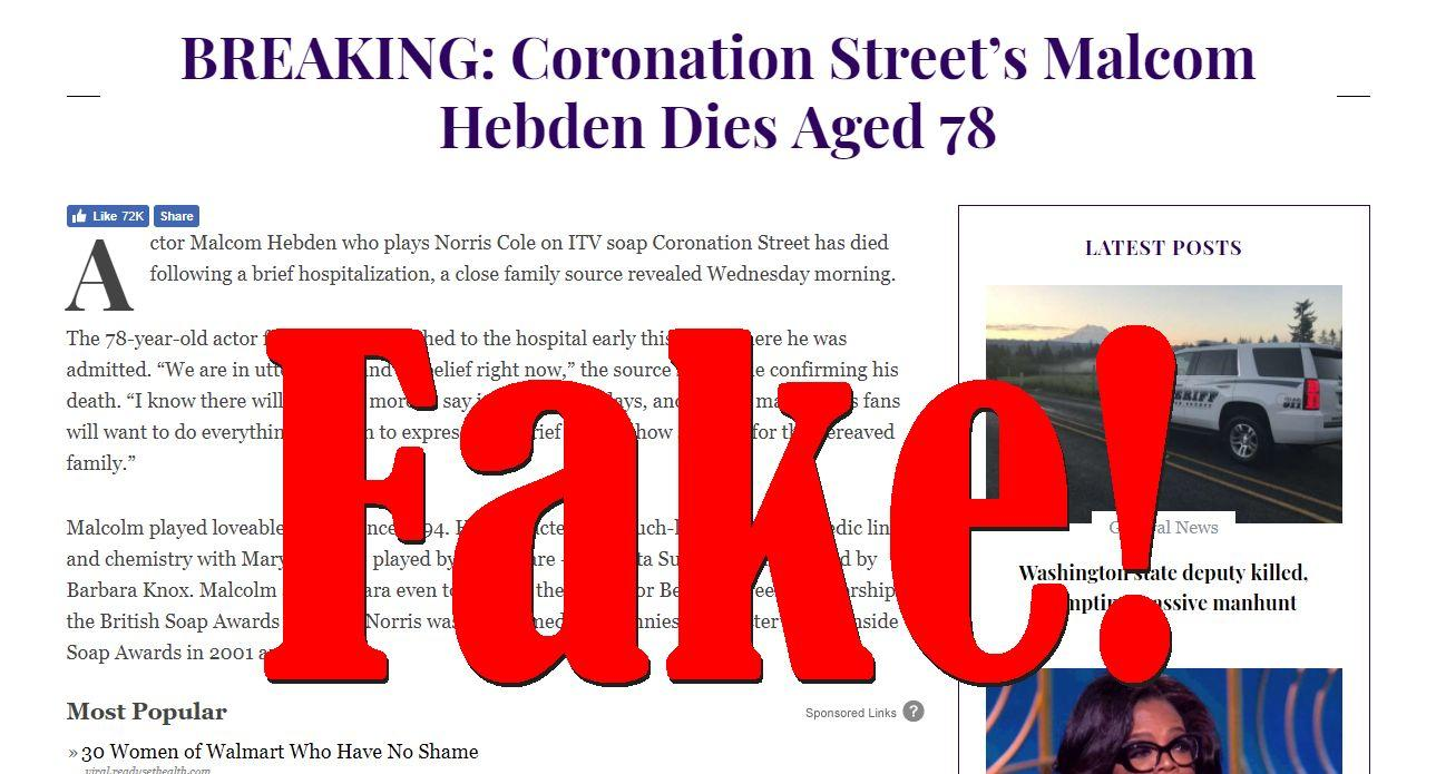 Fake News: Coronation Street's Malcom Hebden Did NOT Die Aged 78