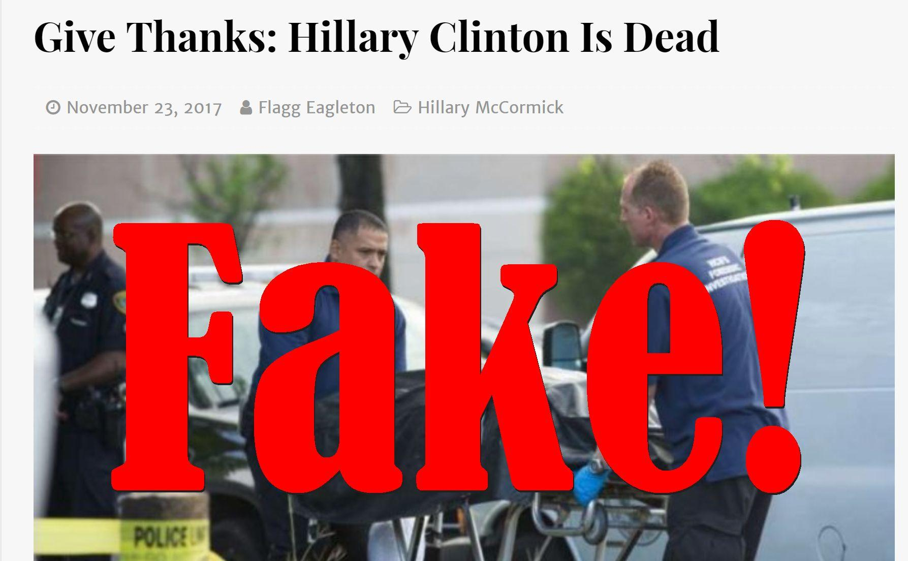 Fake News: Hillary Clinton NOT Dead On Thanksgiving