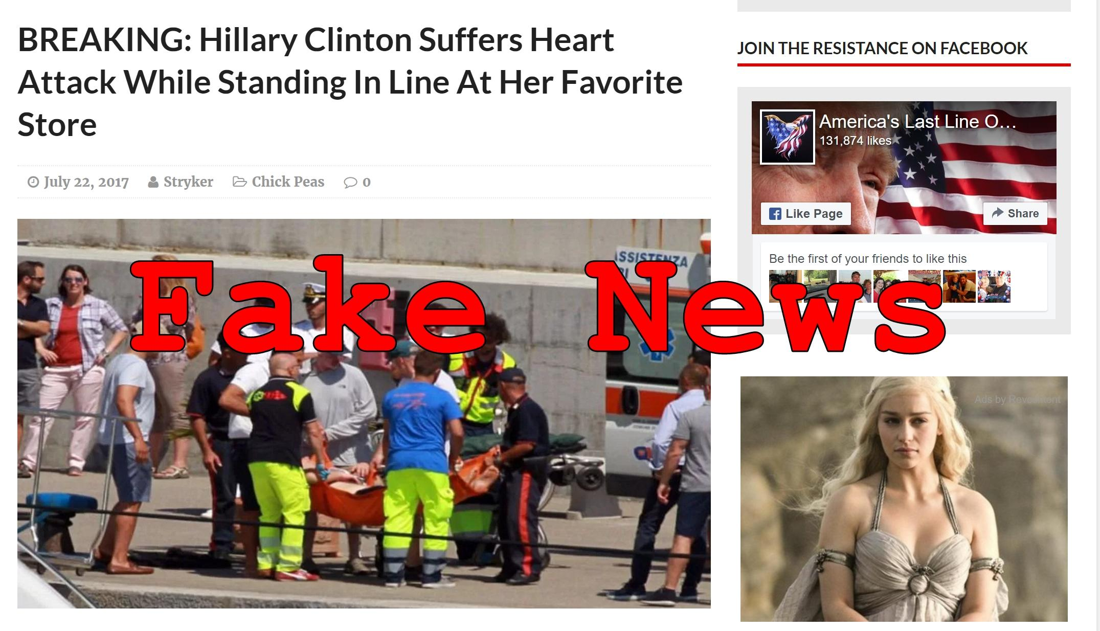 Fake News: Hillary Clinton Did NOT Suffer First, Second or Third Heart Attack