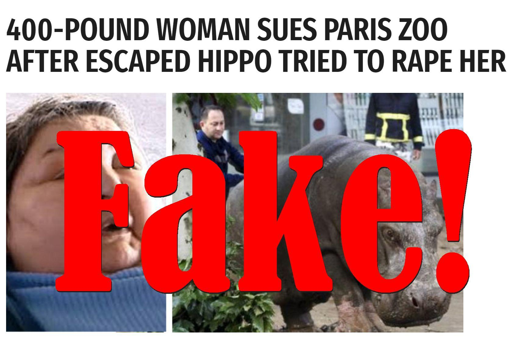 Fake News: 400-pound Woman Did NOT Sue Paris Zoo, Escaped Hippo Did NOT Try to Rape Her