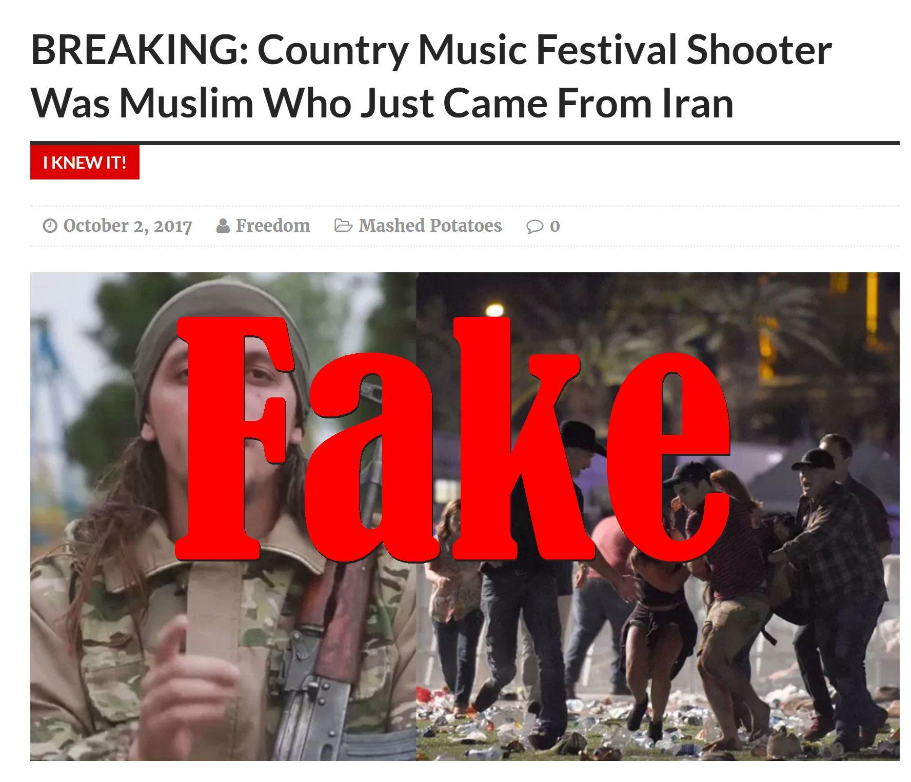 Fake News: Country Music Festival Shooter Was NOT A Muslim Who Just Came From Iran
