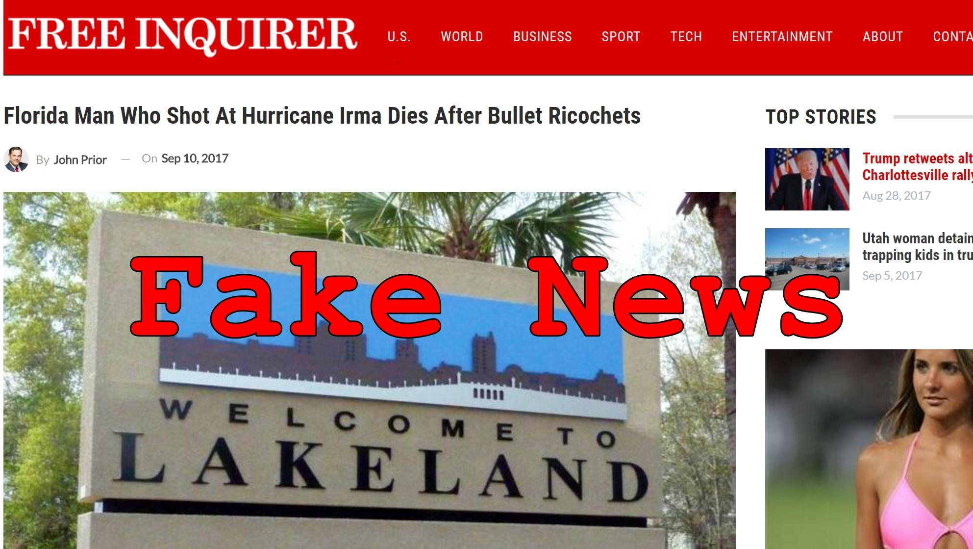 Fake News: Florida Man Did NOT Die After Bullet Ricochets When Shooting At Hurricane Irma