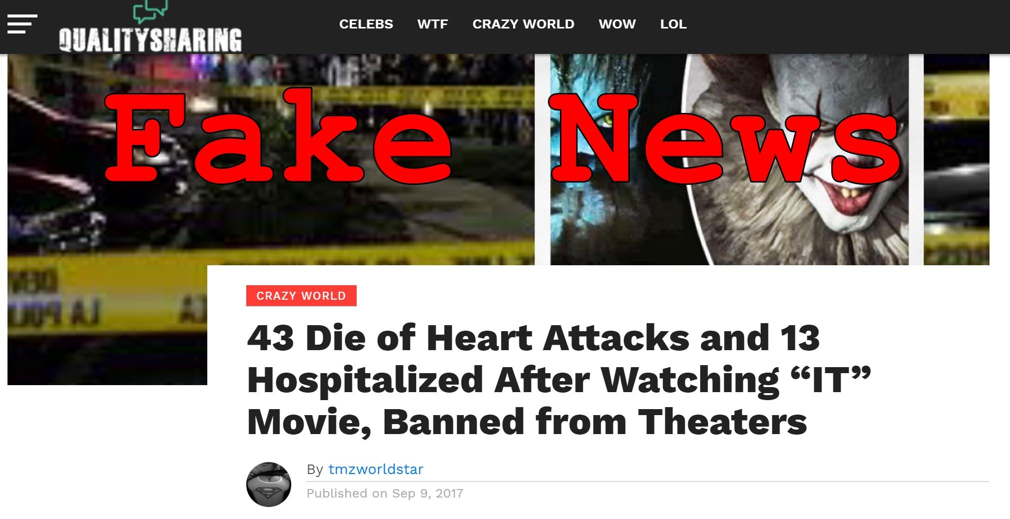 """Fake News: 43 Did NOT Die of Heart Attacks, NO 13 Hospitalized After Watching """"IT"""" Movie, NOT Banned from Theaters"""