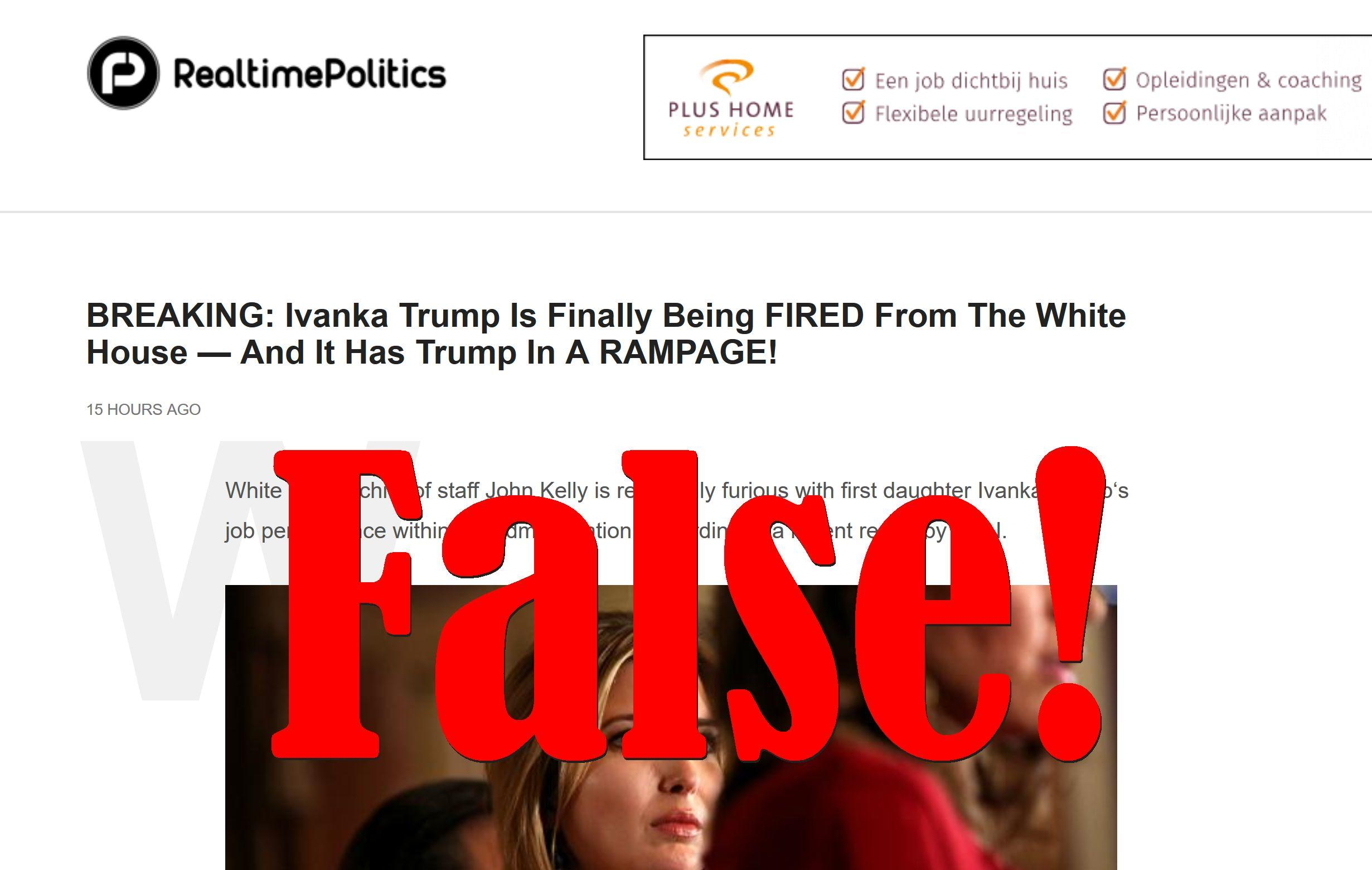 Fake News: Ivanka Trump Is NOT Being Fired From The White House