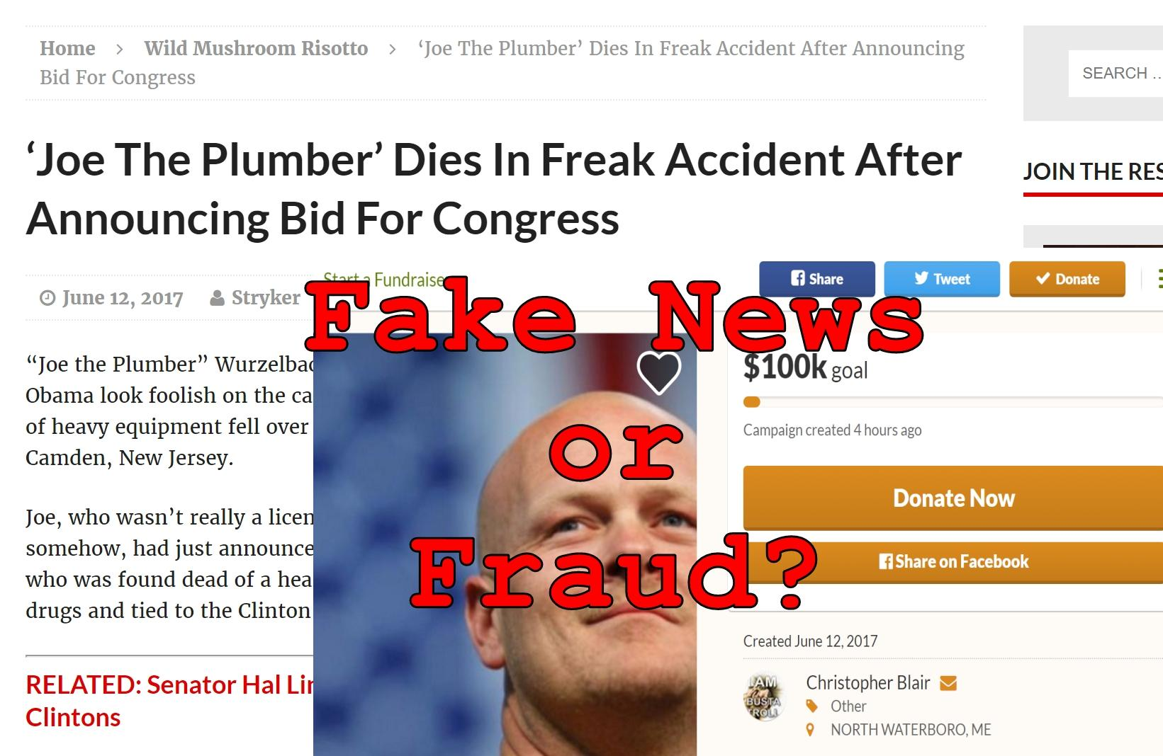 Fake News: Joe The Plumber Did NOT Die In Freak Accident After Announcing Bid For Congress