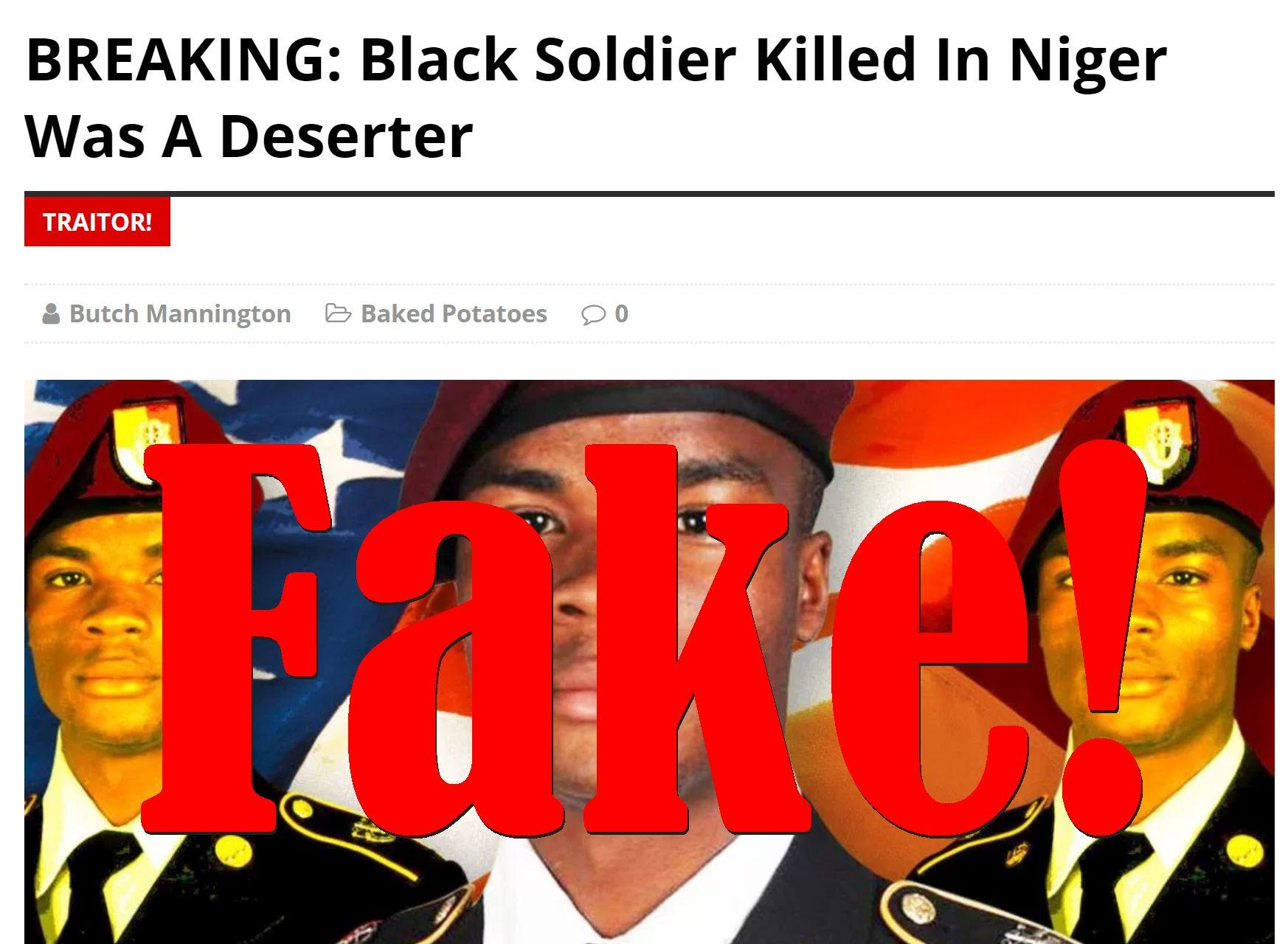 Fake News: Black Soldier Killed In Niger Was NOT A Deserter