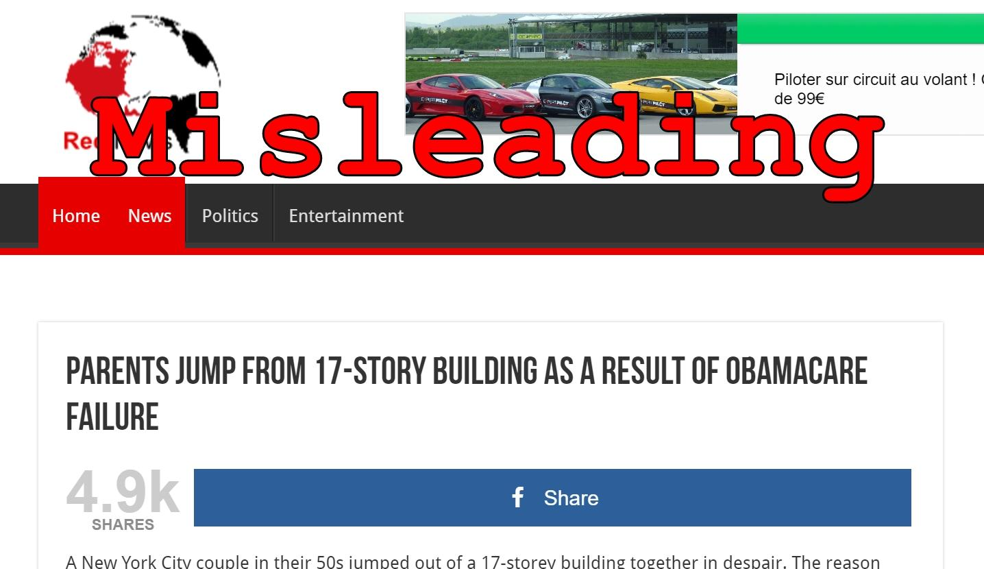 Fact Check: Parents Did NOT Jump From 17-Story Building As A Result Of Obamacare Failure