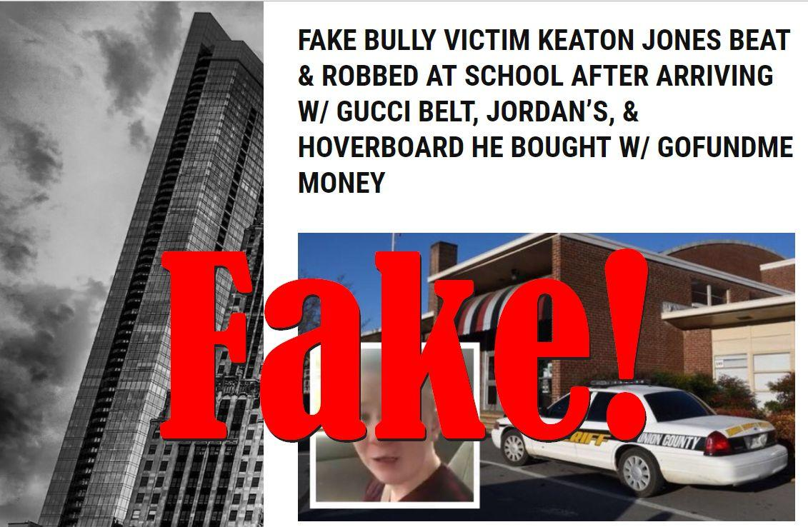 Fake News: Bully Victim Keaton Jones Not Beaten And Robbed At School After Arriving With Gucci Belt, Jordans And Hoverboard Bought With GoFundMe Donations