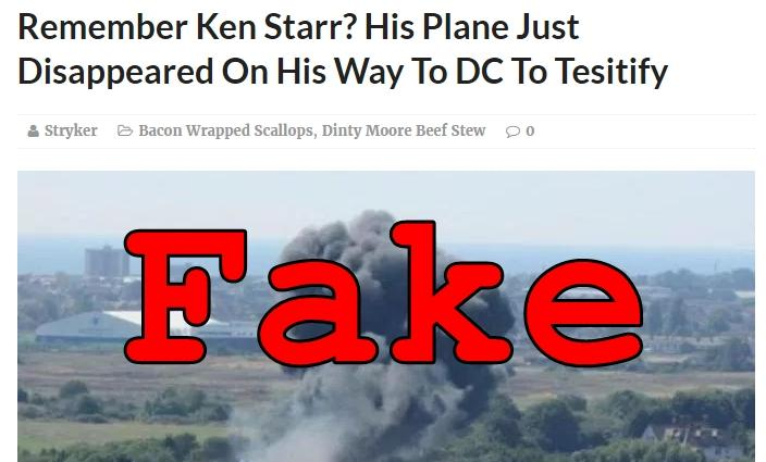 Fake News: Ken Starr NOT Killed In Plane Crash On The Way To DC To Testify
