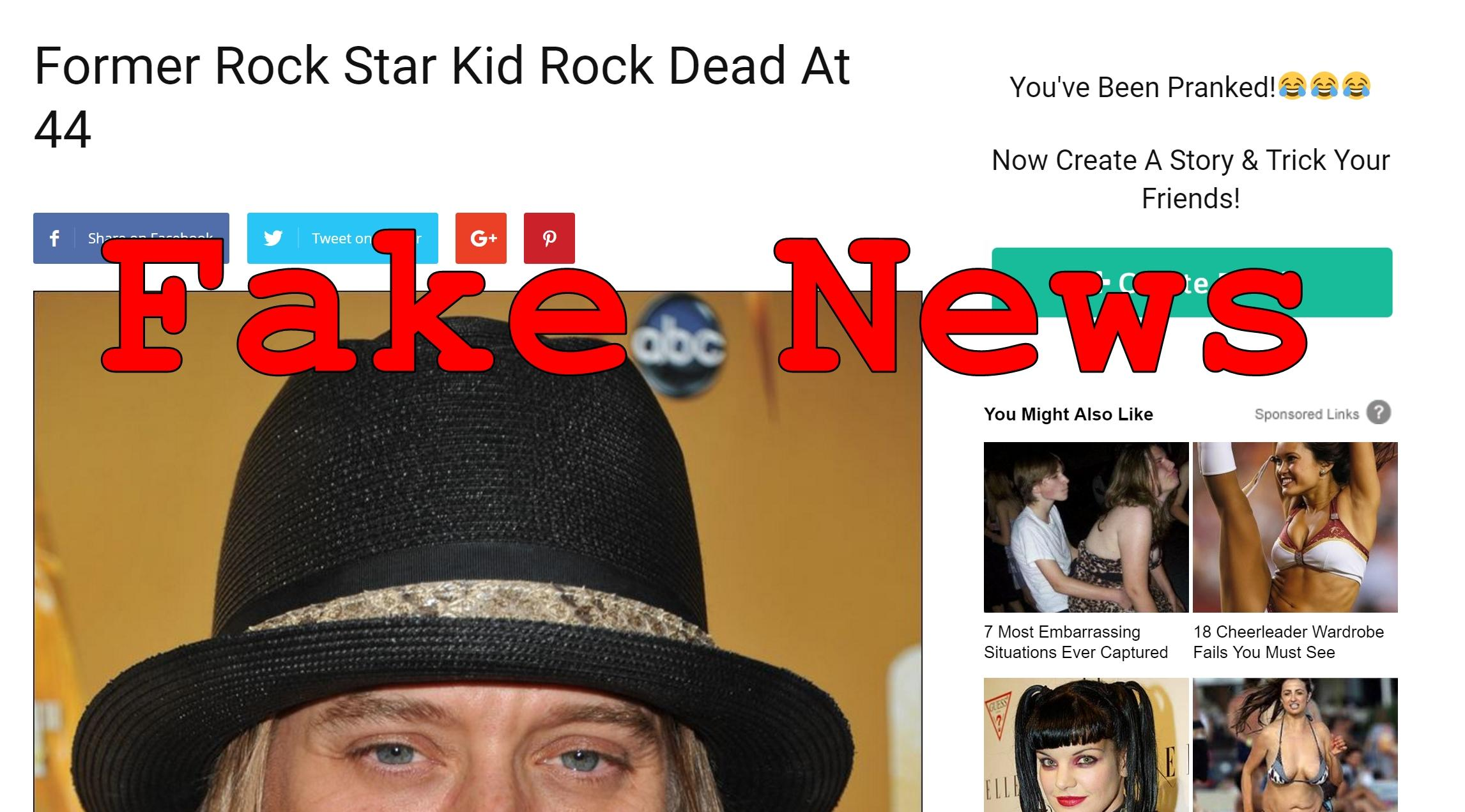 Fake News: Former Rock Star Kid Rock NOT Dead At 44