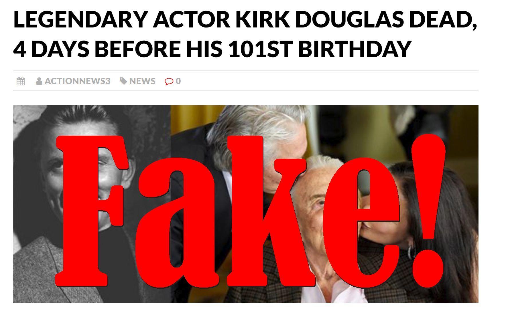 Fake News: Legendary Actor Kirk Douglas NOT Dead 4 Days Before His 101st Birthday