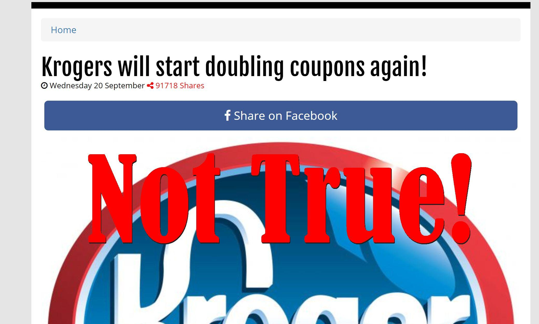 Fake News: Krogers Will NOT Start Doubling Coupons Again