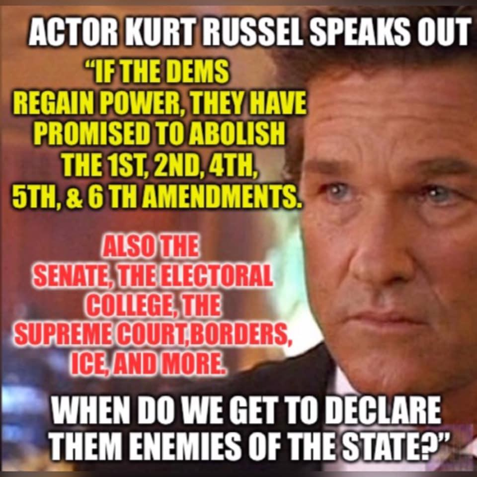 Fake News: Kurt Russell Did NOT Claim Democrats Want To Abolish 1st, 2nd, 4th, 5th, 6th Amendments, Senate, Electoral College, Supreme Court, Borders and ICE