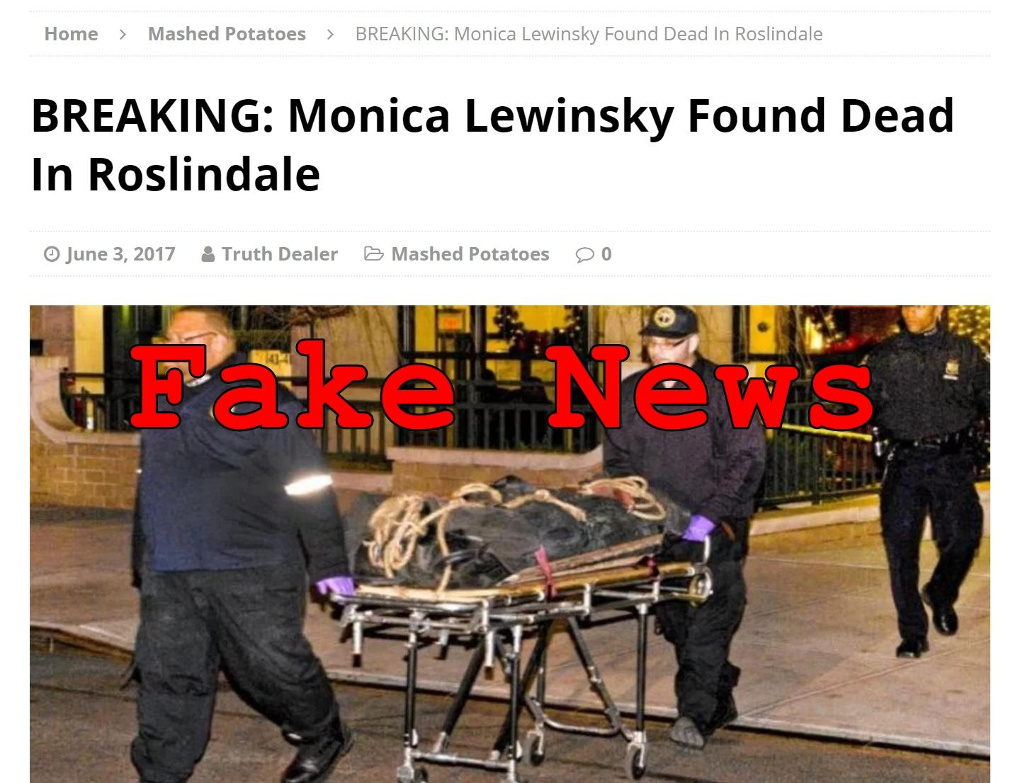 Fake News: Monica Lewinsky NOT Found Dead In Roslindale
