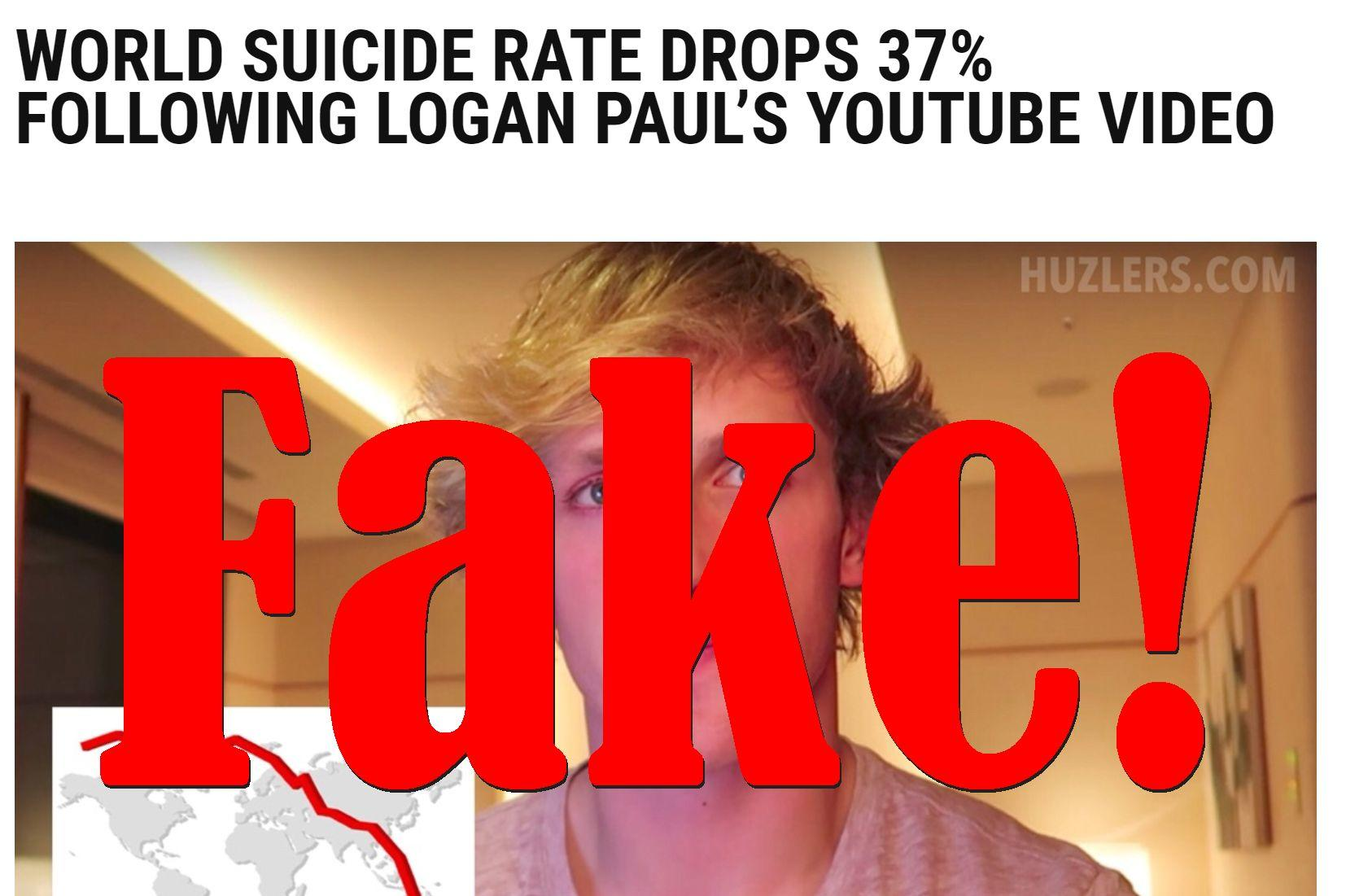 Fake News: World Suicide Rate Did NOT Drop 37% Following Logan Paul's Youtube Video