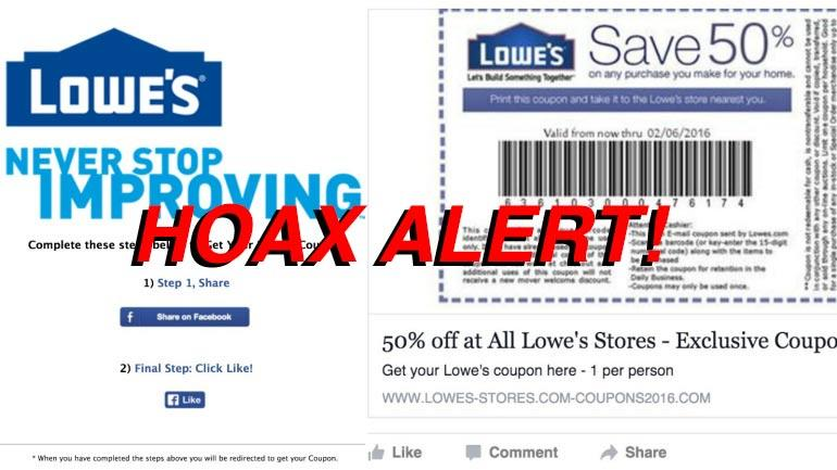 Hoax Alert: 50% off Lowe's Coupon On Facebook Is Fake