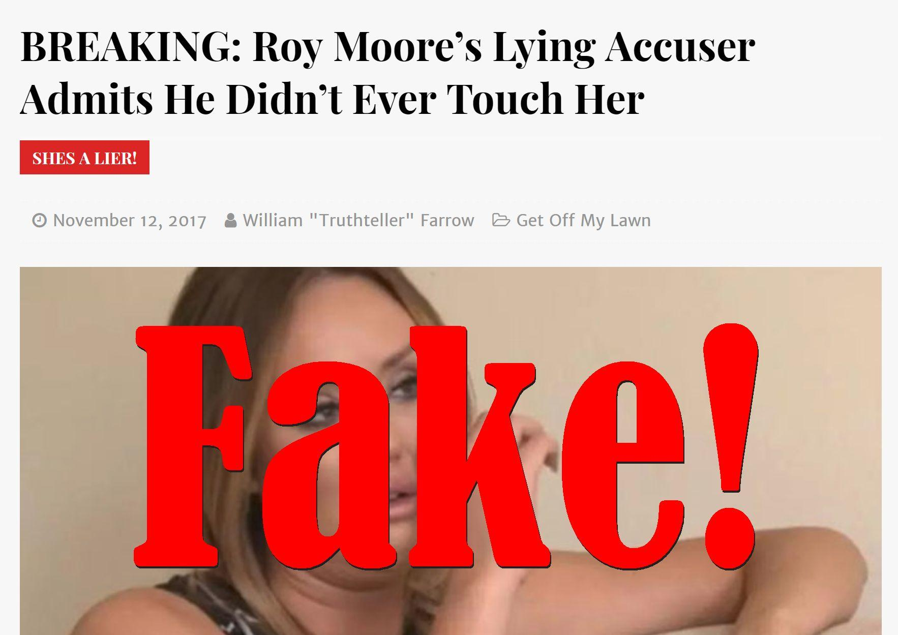Fake News: Roy Moore's Accuser Did NOT Admit He Didn't Ever Touch Her