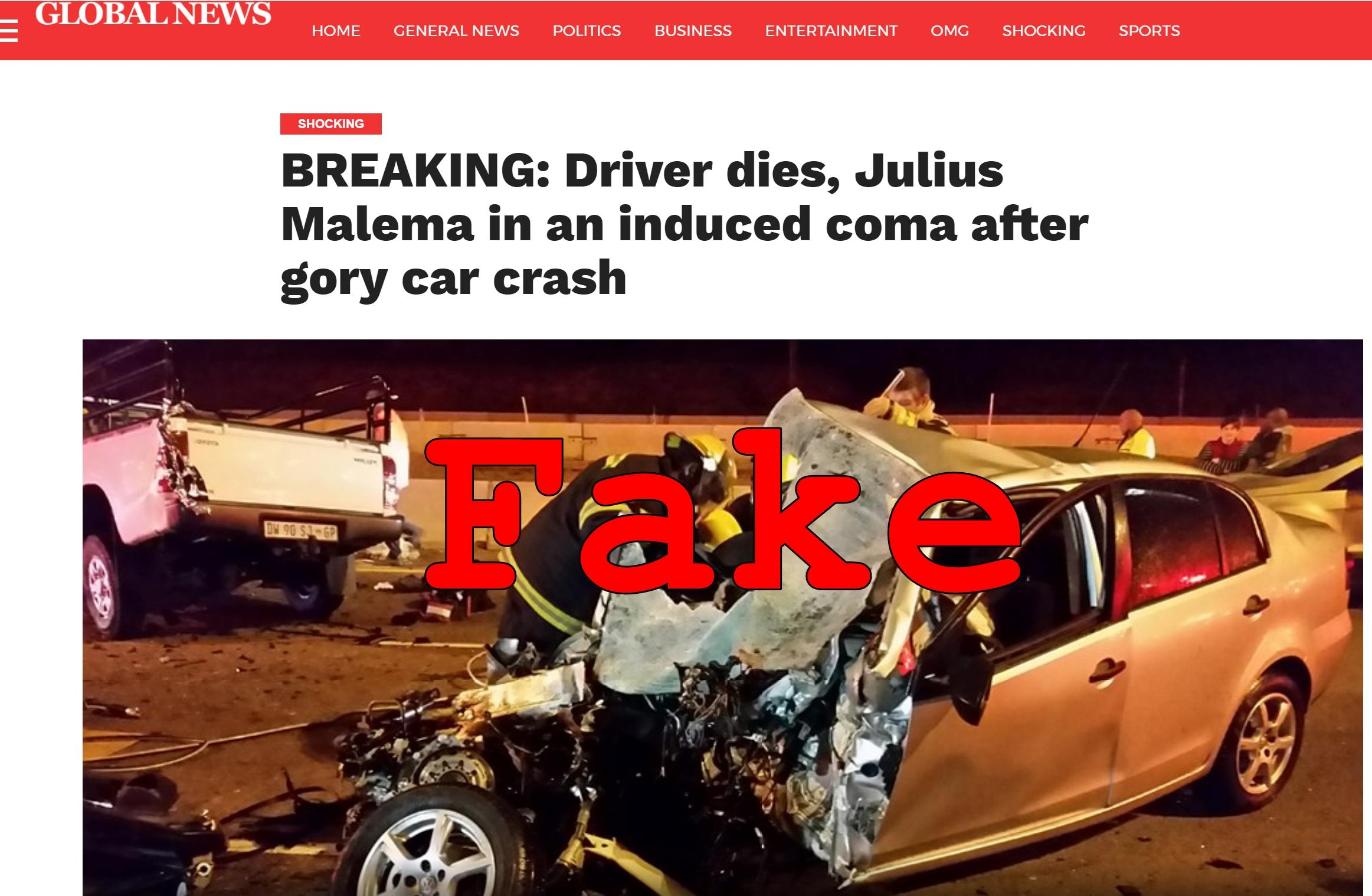 fake news: julius malema not in a coma after car crash, driver not