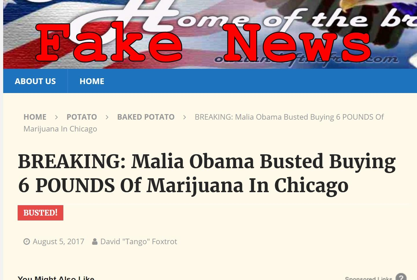 Fake News: Malia Obama NOT Busted Buying 6 Pounds Of Marijuana In Chicago