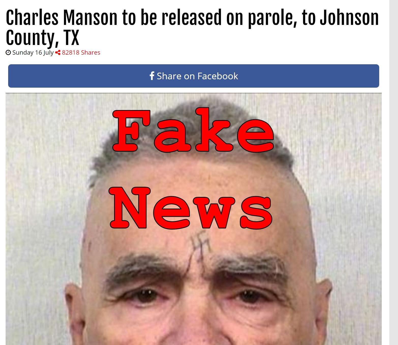 Fake News: Charles Manson NOT To Be Released On Parole To Johnson County TX