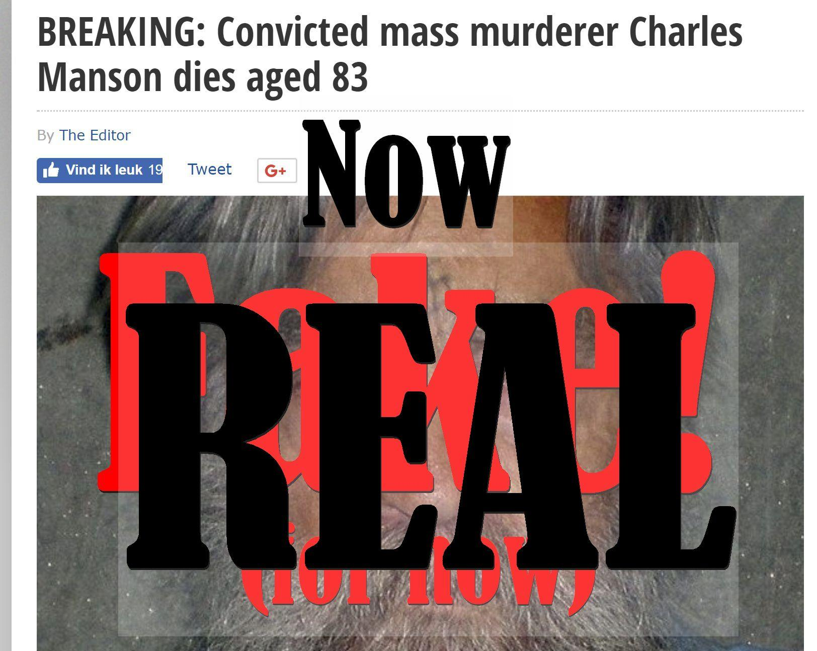 (UPDATE: He Did Now...) Fake News: Convicted Mass Murderer Charles Manson Did NOT Die Aged 83