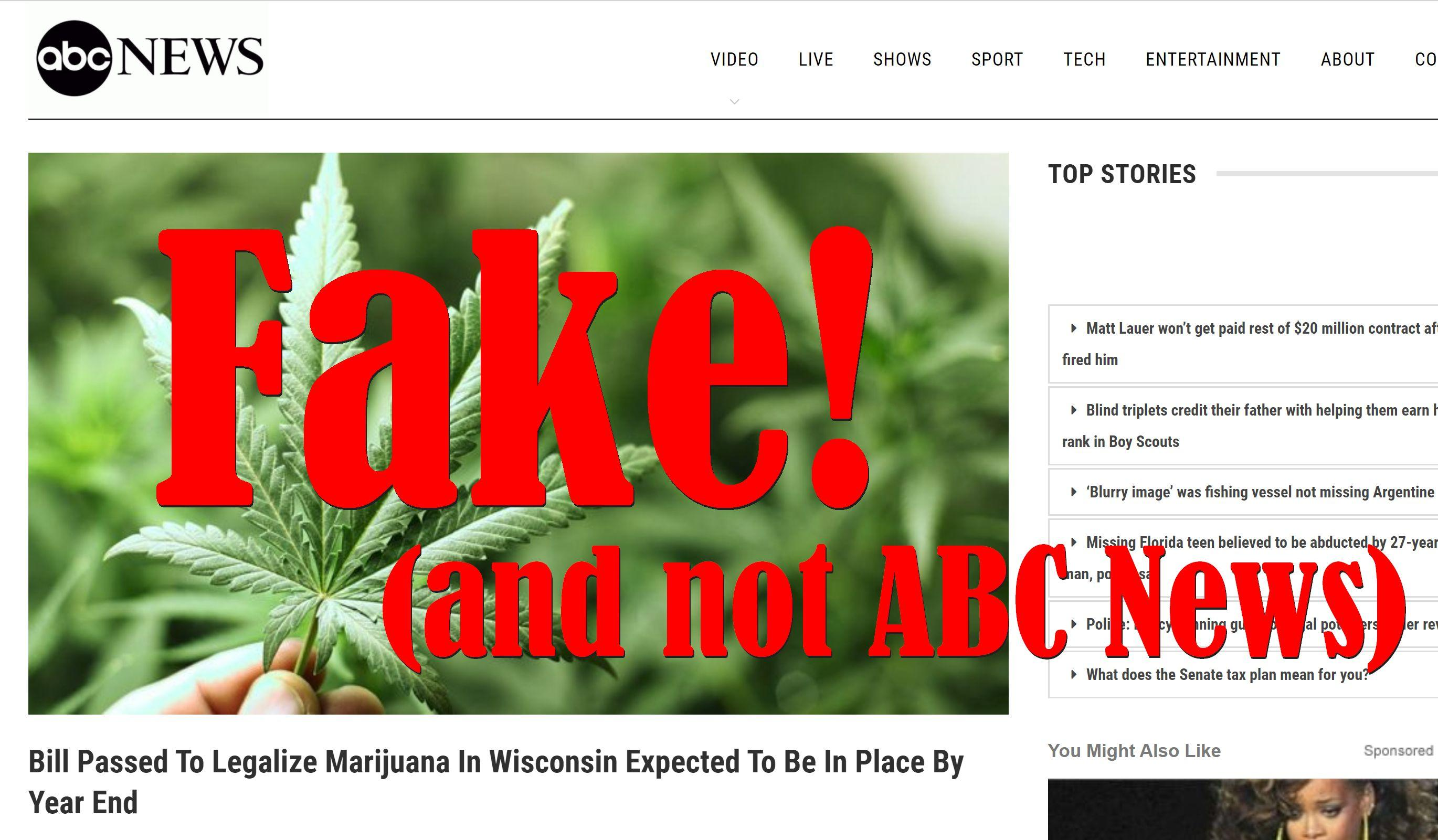 Fake News: Bill NOT Passed To Legalize Marijuana In Wisconsin, NOT Expected To Be In Place By Year End