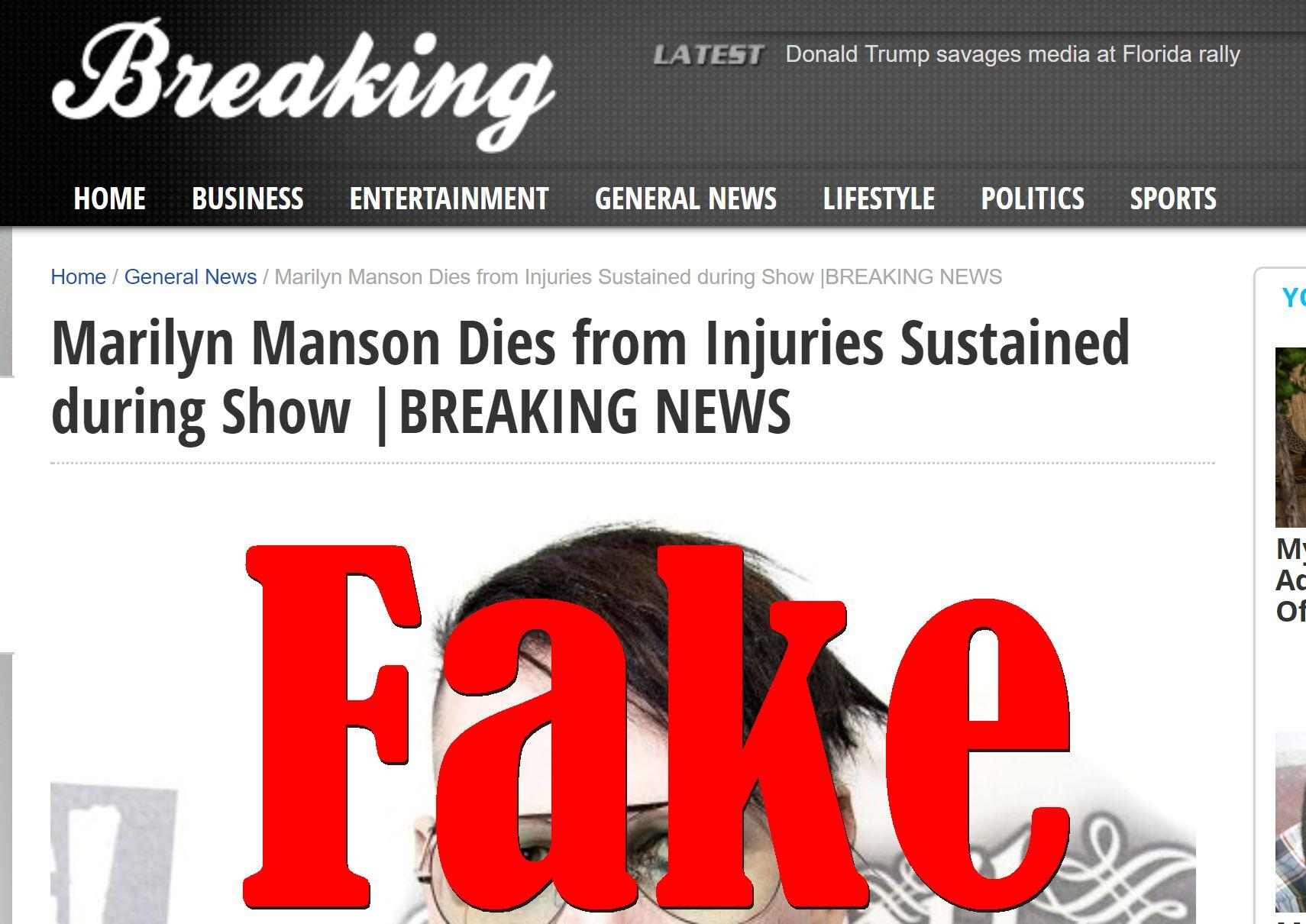Fake News: Marilyn Manson Did NOT Die From Injuries Sustained during Show