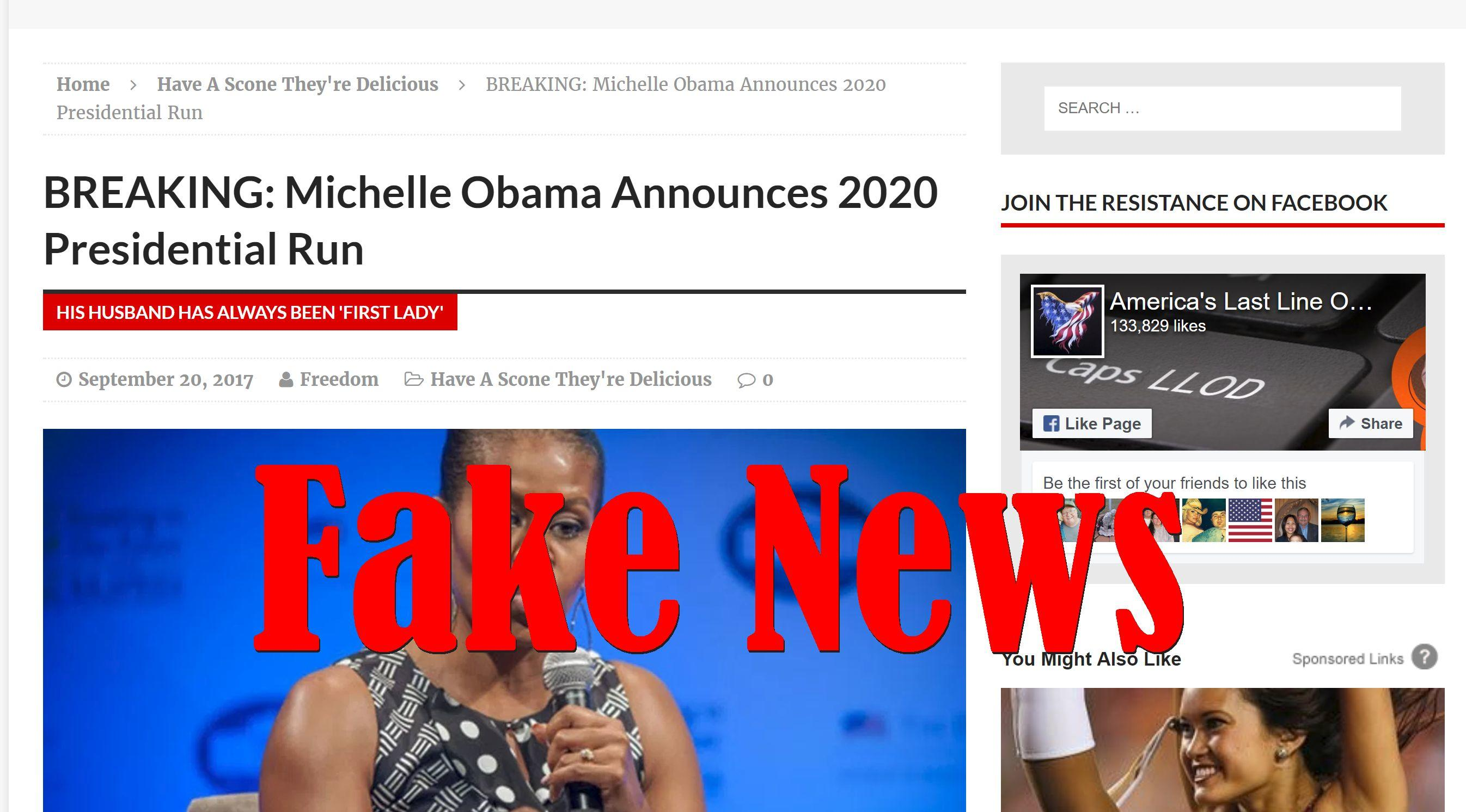 Fake News: Michelle Obama Did NOT Announce 2020 Presidential Run