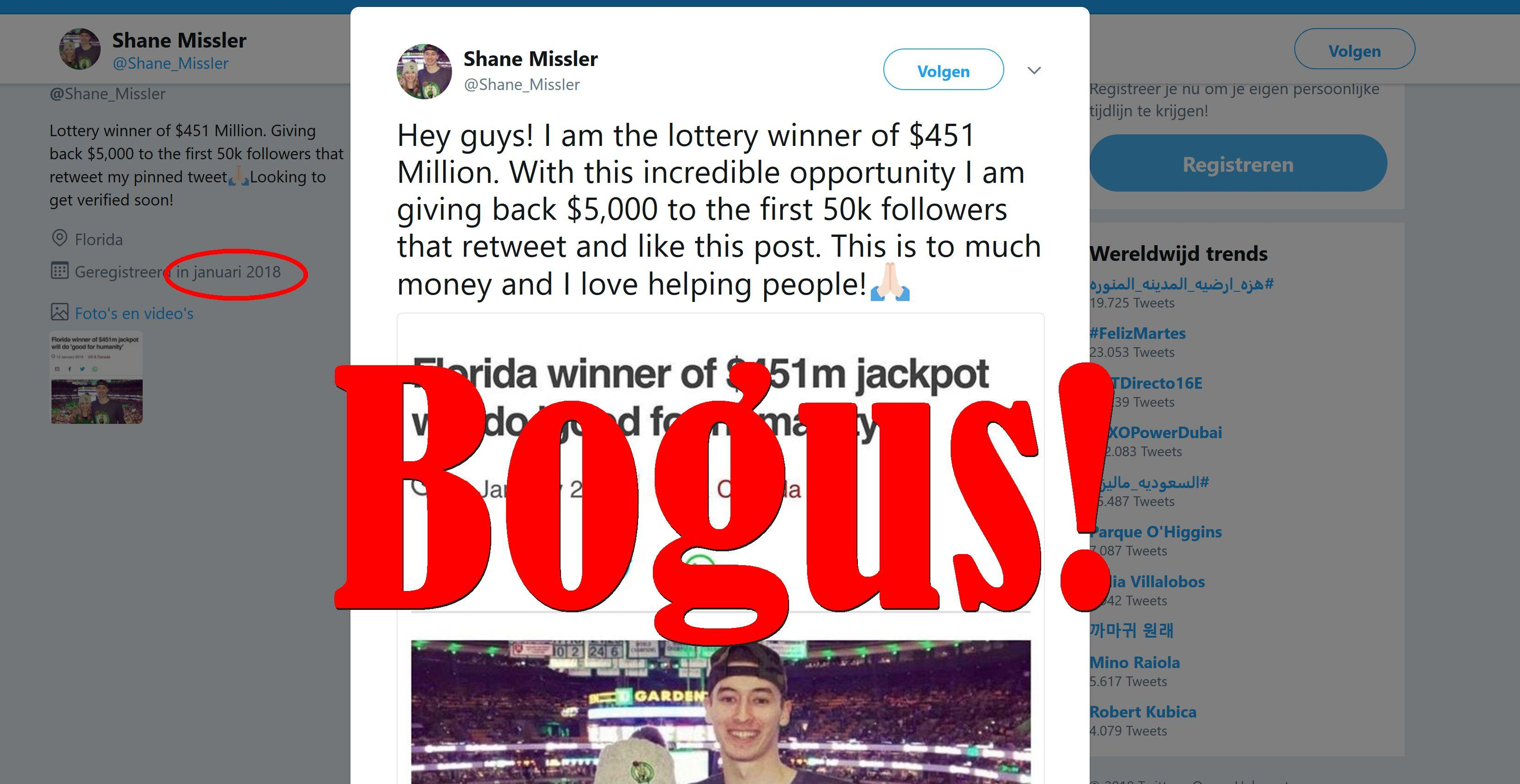 Fake News: $451 Million Lottery Winner Shane Missler NOT Giving Away $5,000 To Retweeters